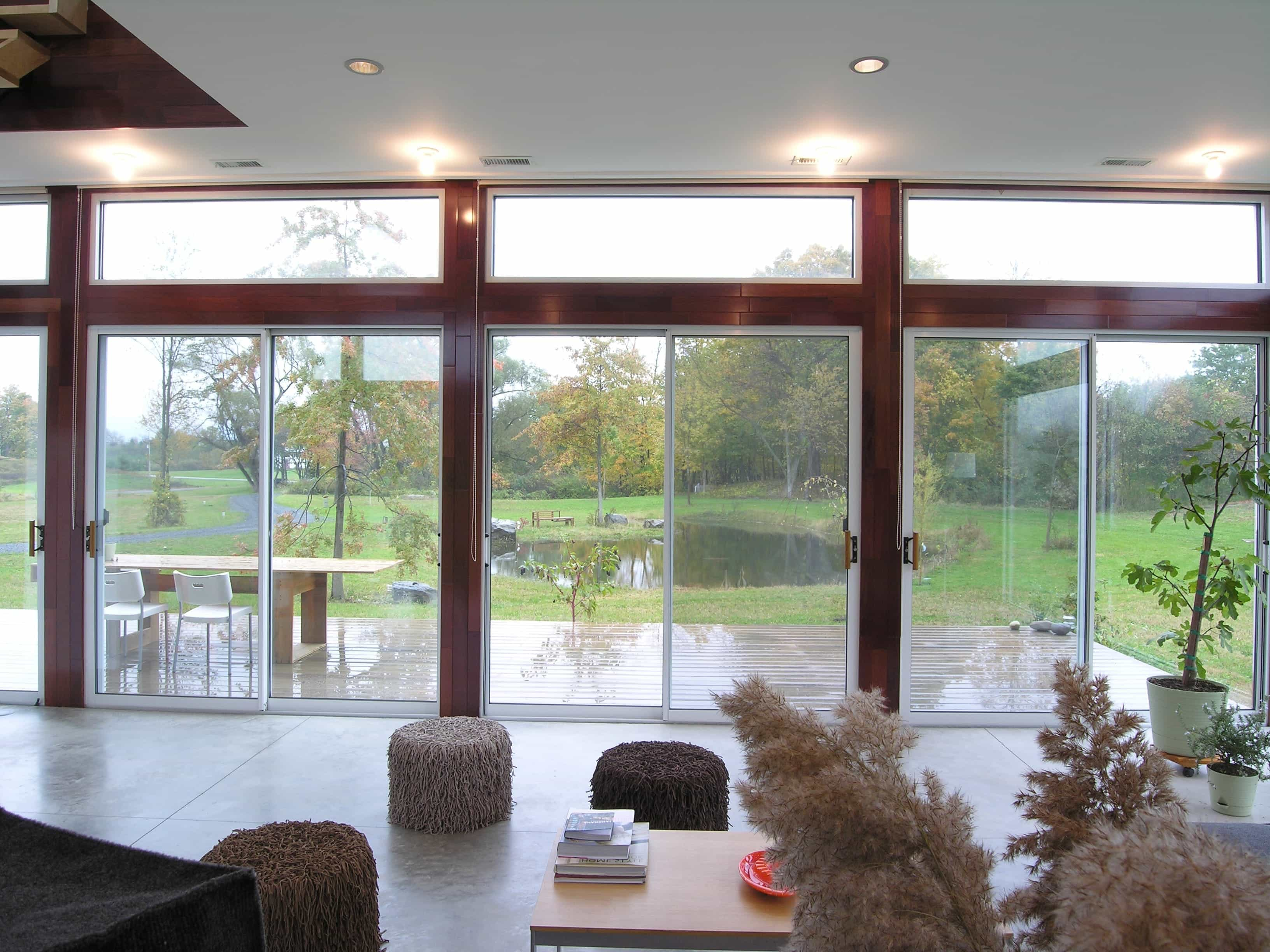 Rosewood Framed Sliding Glass Doors For Contemporary Living Room (Image 23 of 27)