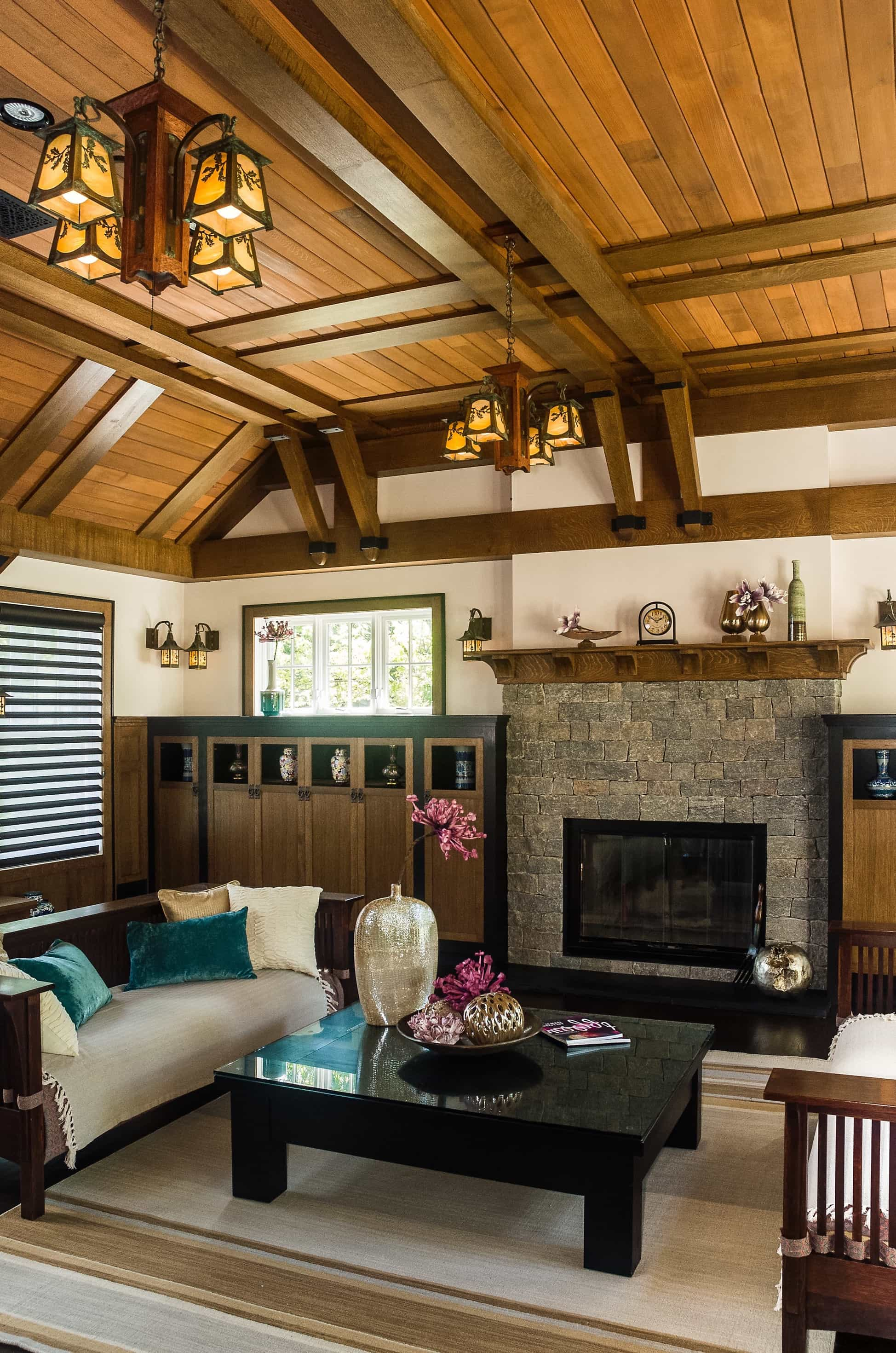 Featured Image of Rustic Asian Living Room With Wood Plank Ceiling