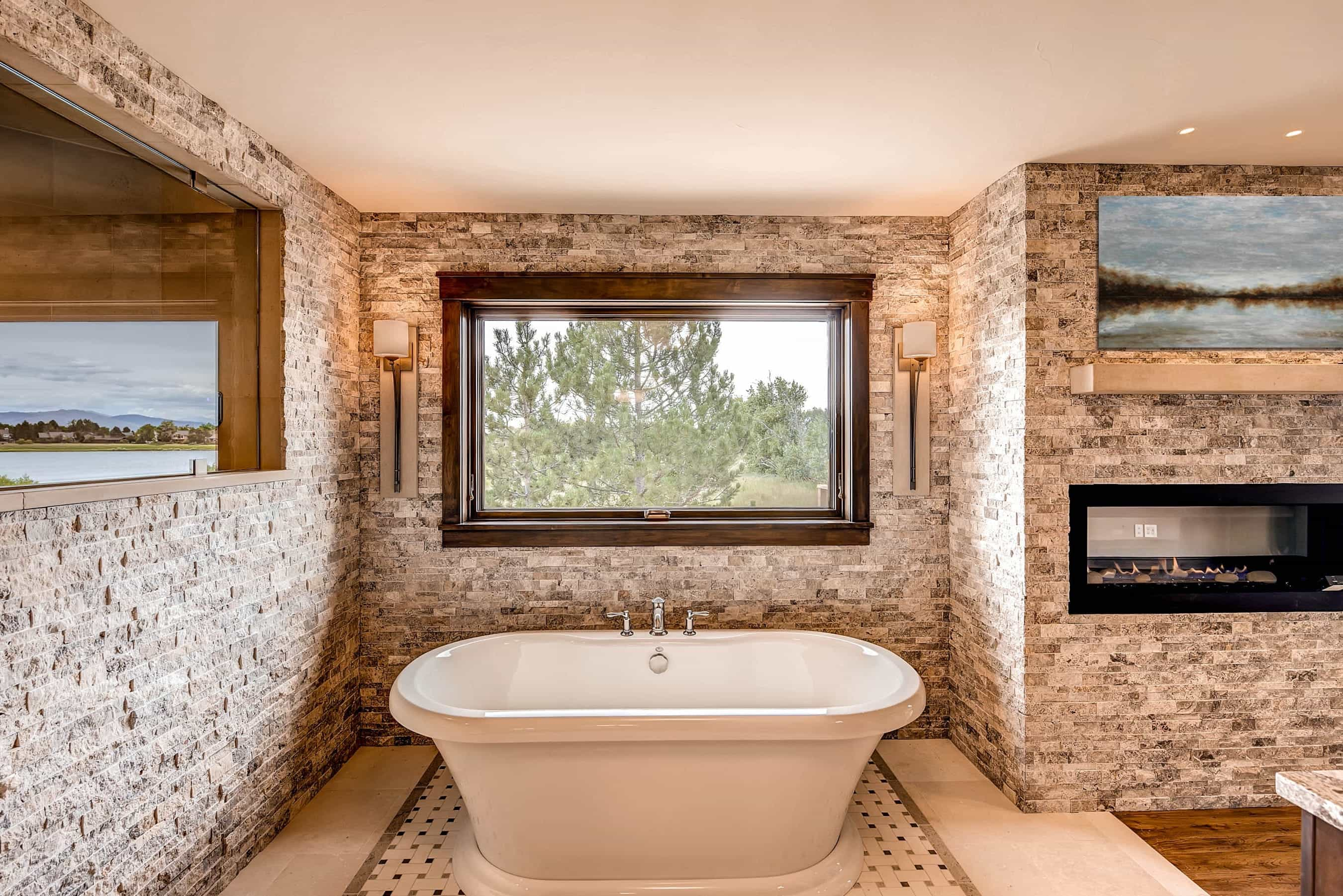 Rustic Contemporary Master Bathroom With Brick Wall And Fireplace  (Image 22 of 30)