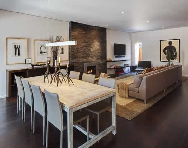 Featured Image of Rustic Dining Room And Contemporary Living Room Combination