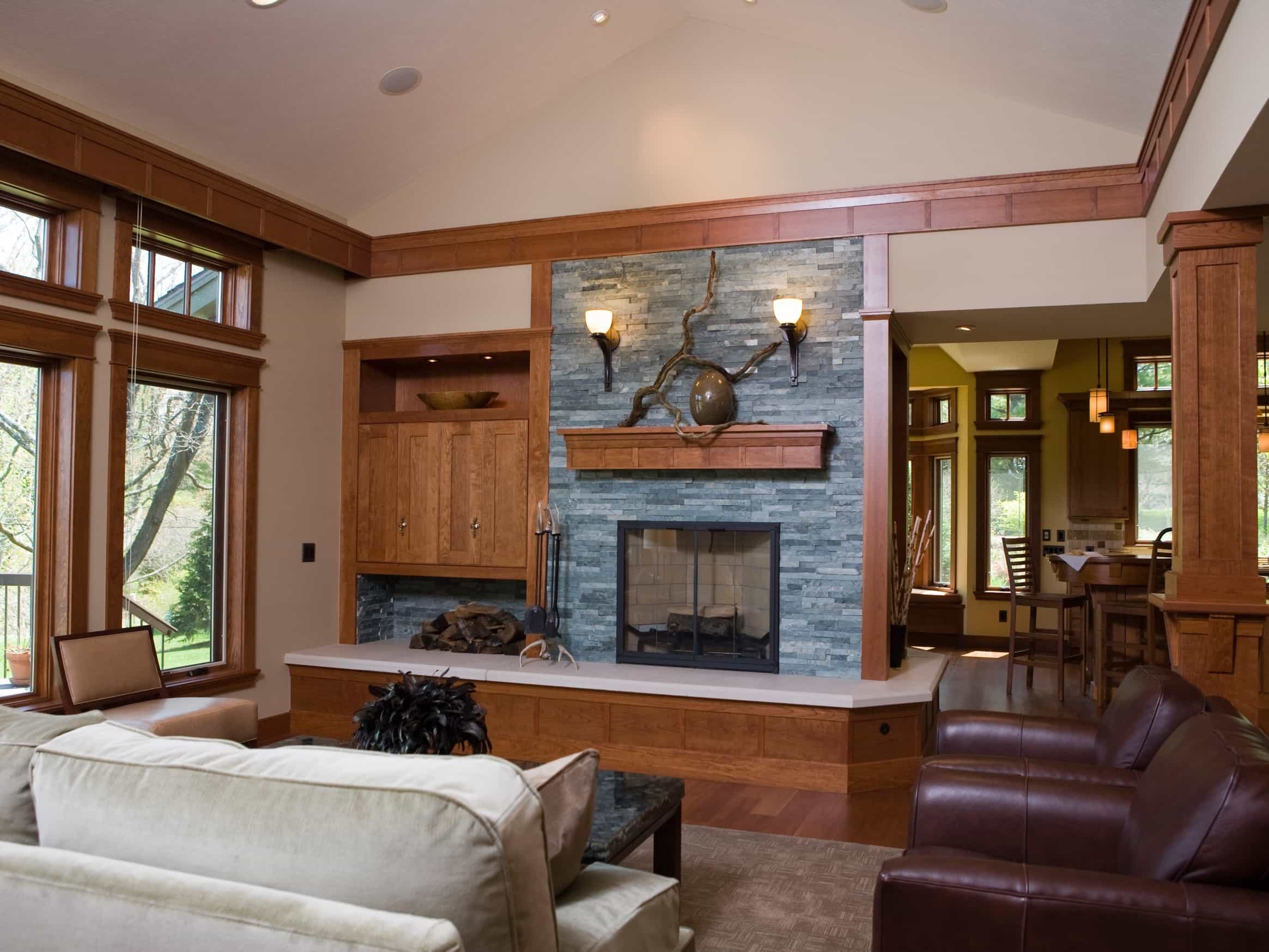 simple craftsman living room with stone fireplace #50509 | house