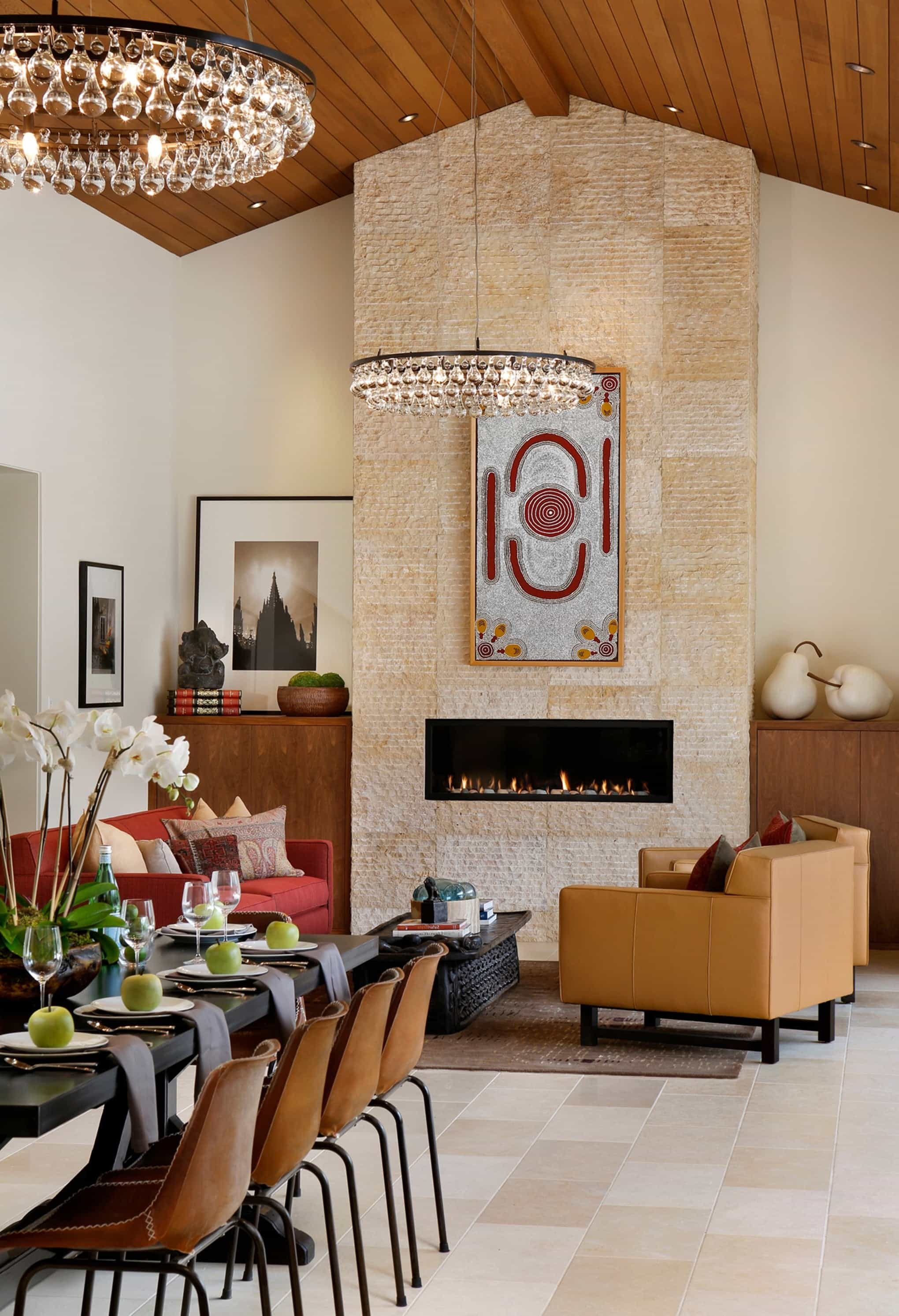 Featured Image of Stunning Zen Inspired Dining And Living Room With Circular Chandeliers