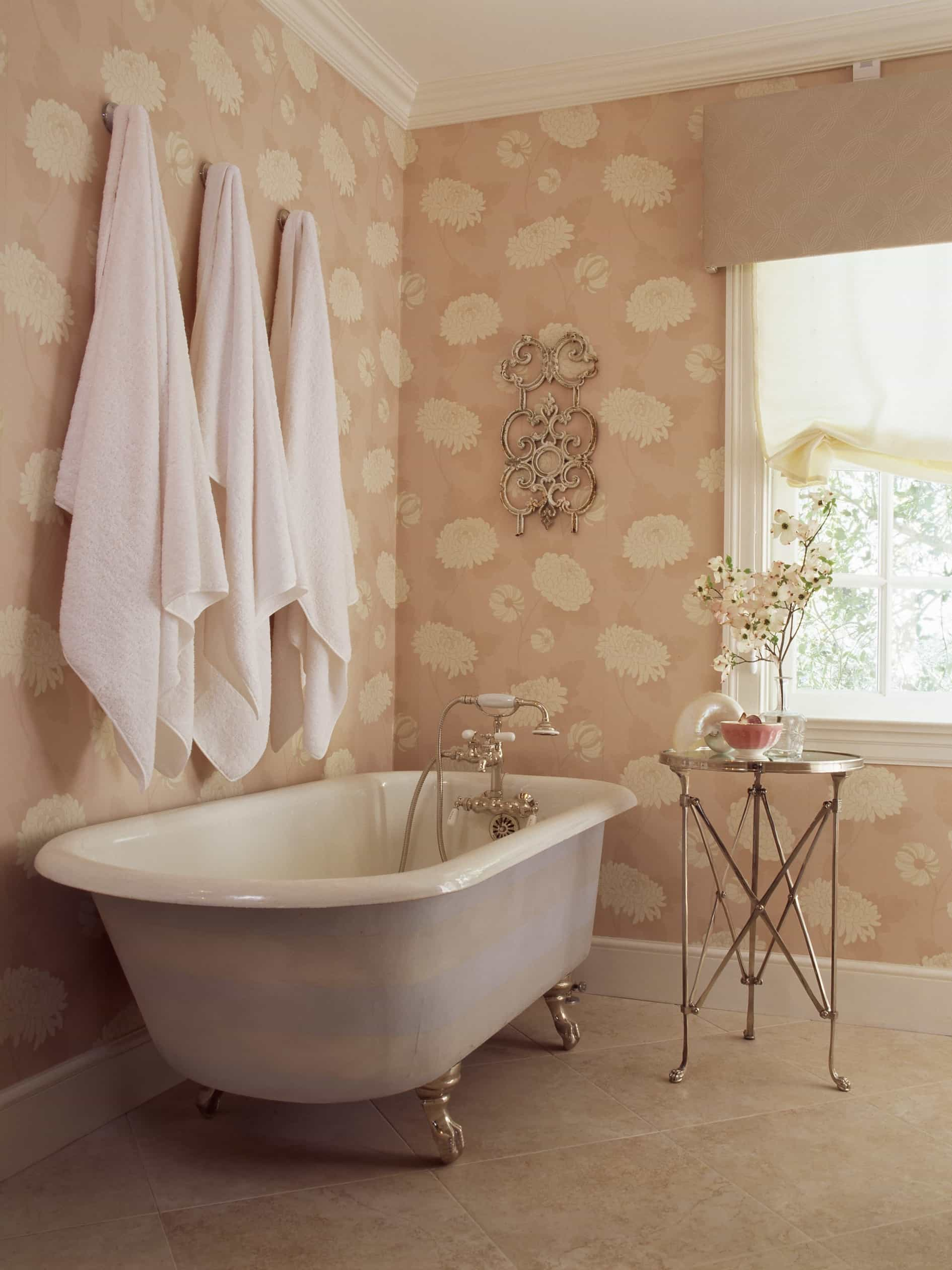 Featured Image of The Claw Foot Tub In Cottage Style Bathroom With Floral Wallpaper