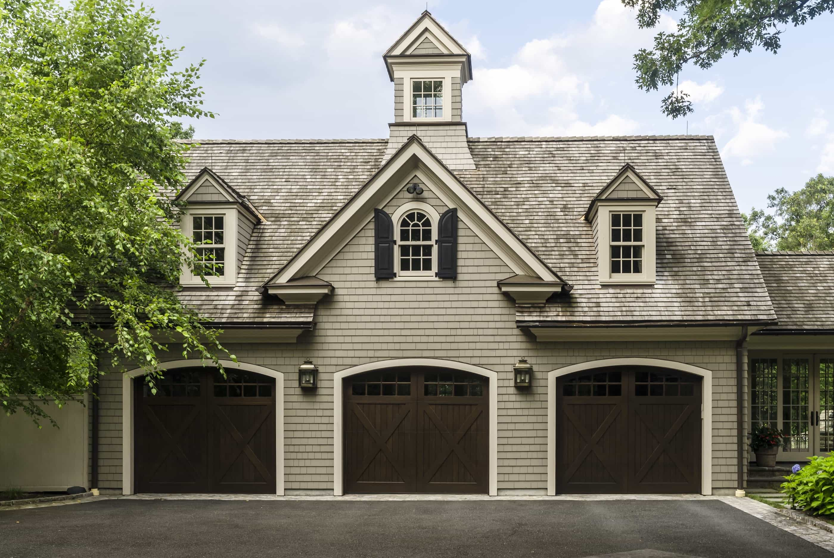Three car garage at colonial home 51001 house for Colonial garage plans
