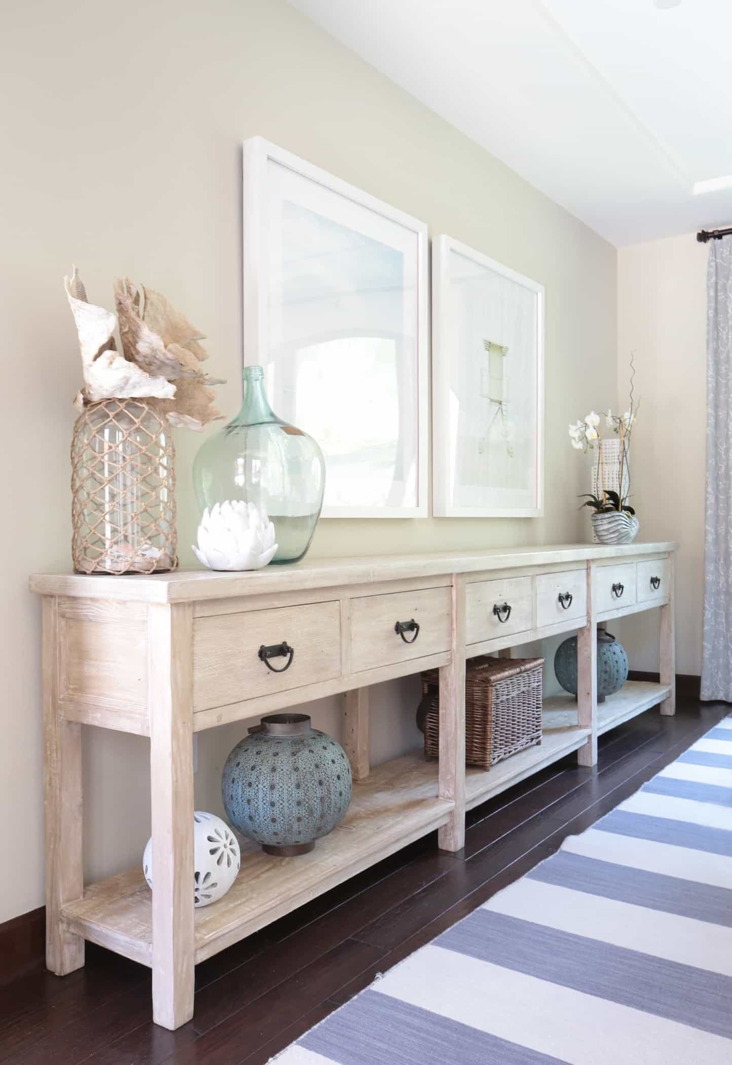 Transitional Coastal Buffet Table In Neutral Dining Room