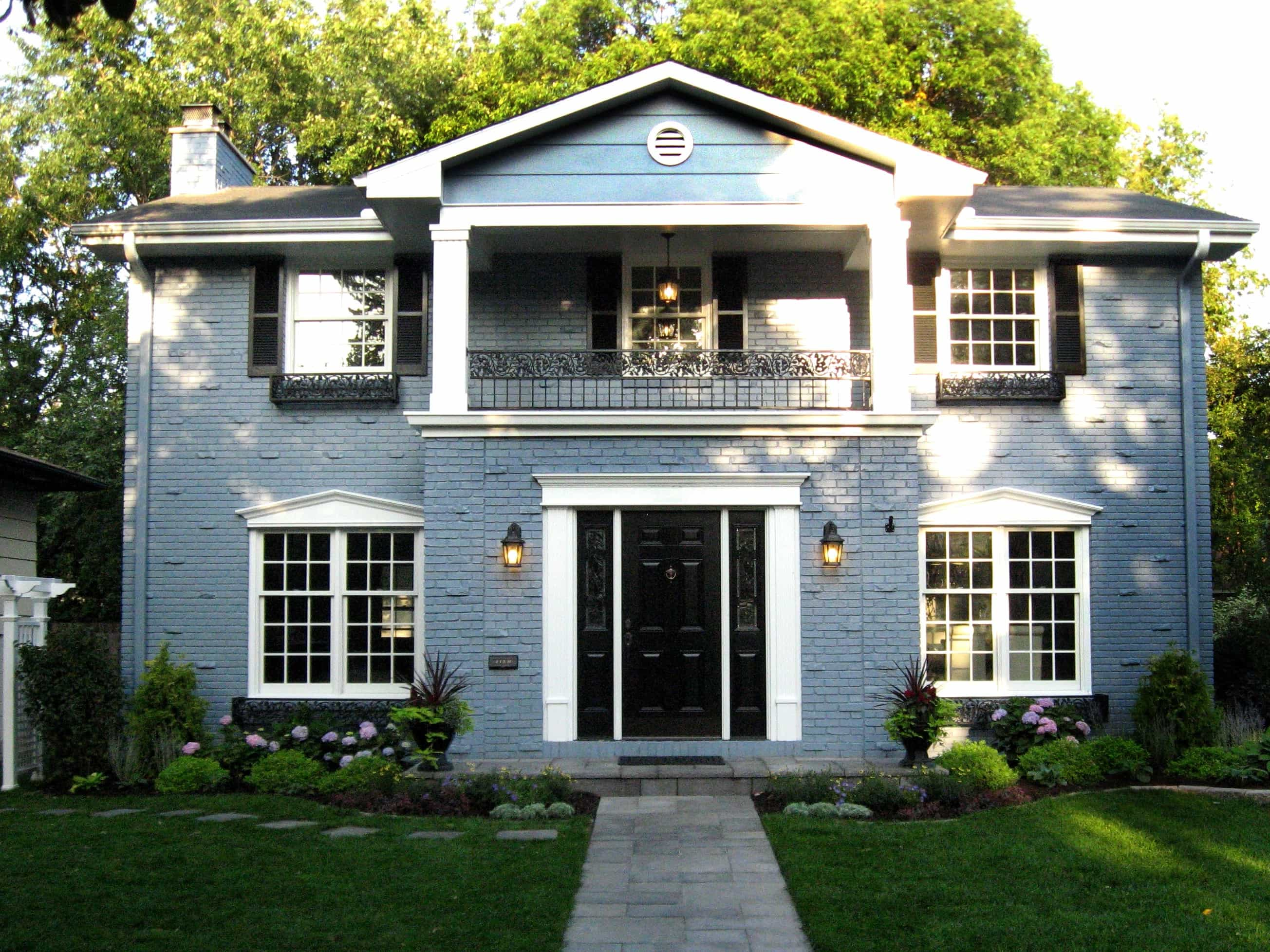 Vinyl Shutters For Colonial Brick Wall House Exterior (View 6 of 8)