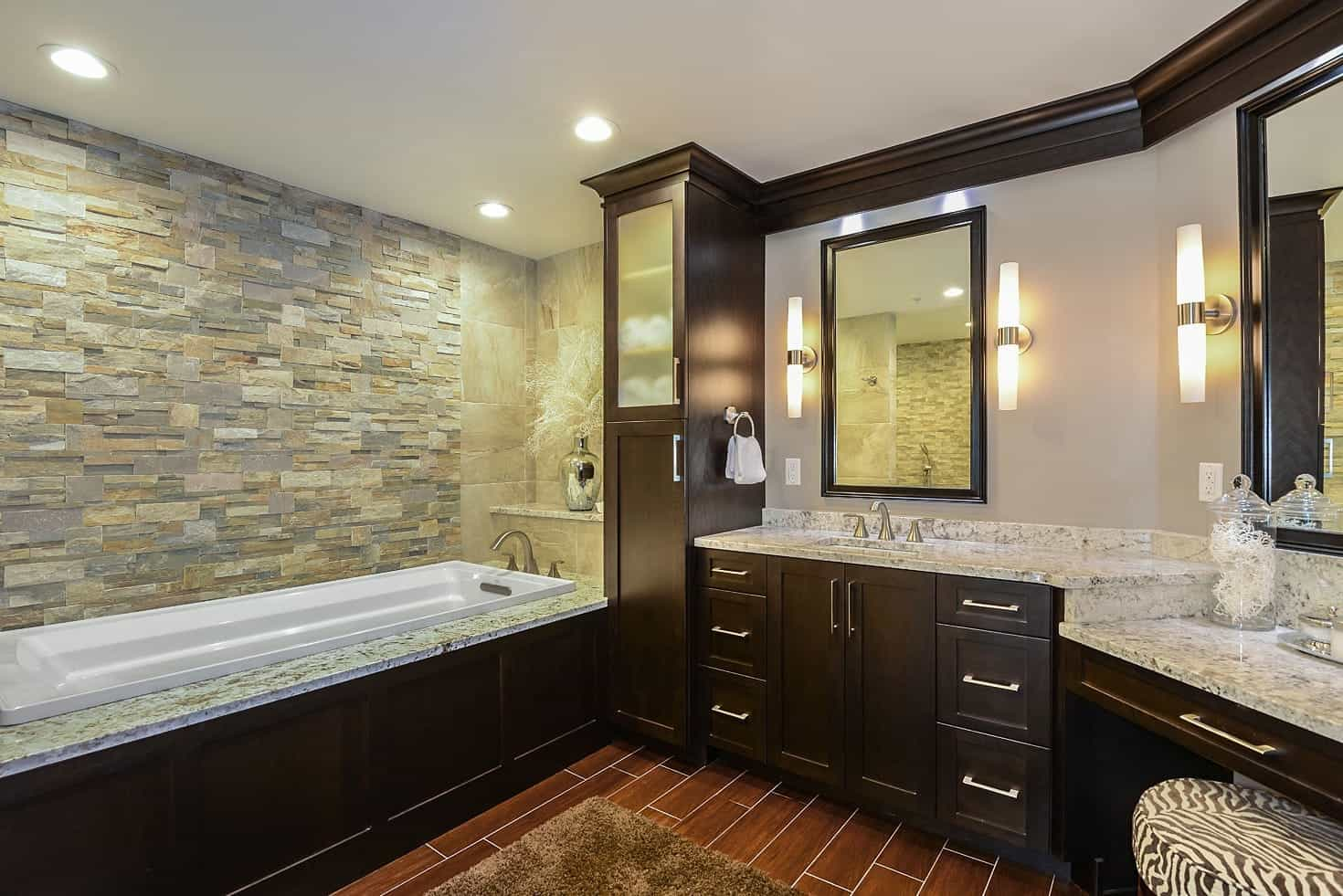 Wall Remodeling For Contemporary Master Bathroom With Spacious Vanity And Drop In Bathtub (Image 19 of 19)