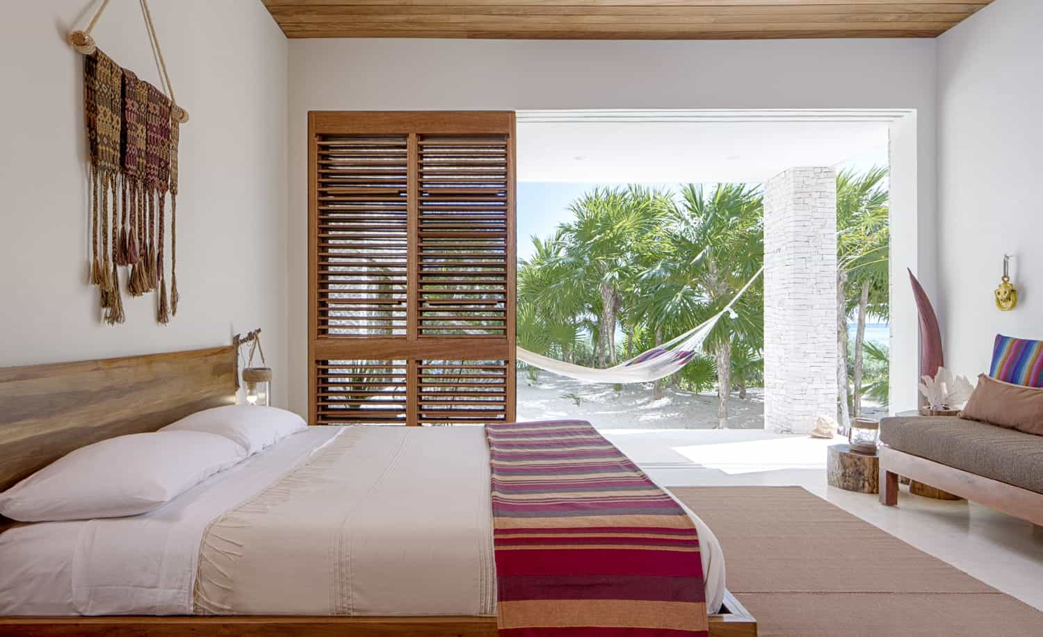 White Bedroom With Wooden Sliding Shutter Doors (Image 27 of 27)