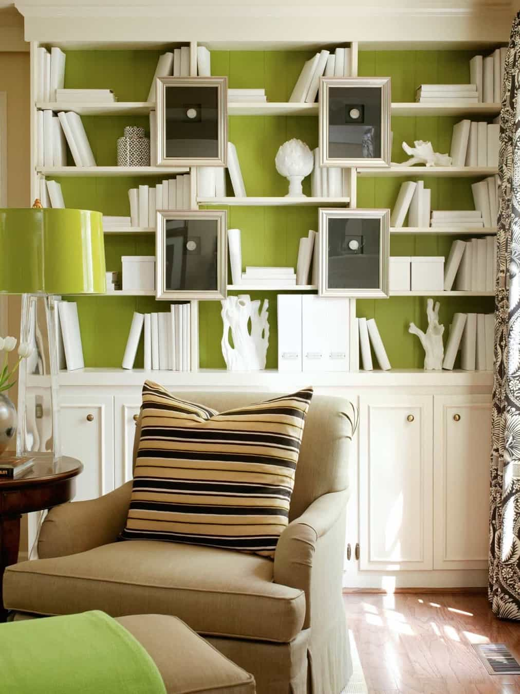 Featured Image of White Bookcase On Bold Lime Green Wall
