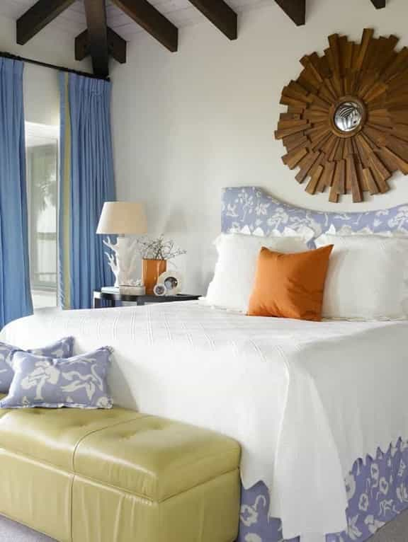 Featured Image of White Coastal Bedroom With Wooden Starburst Mirror