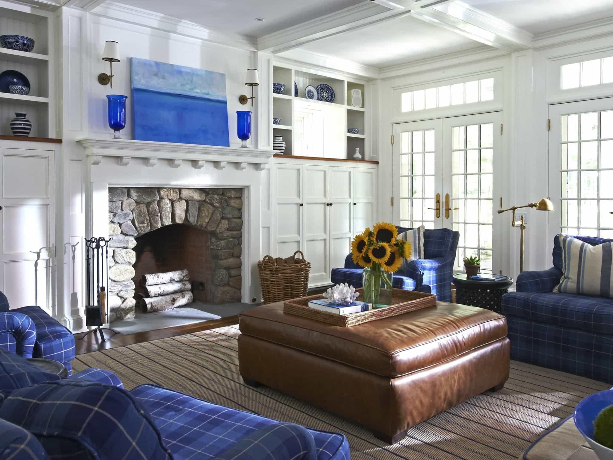 White Coastal Living Room With Stone Fireplace 50284