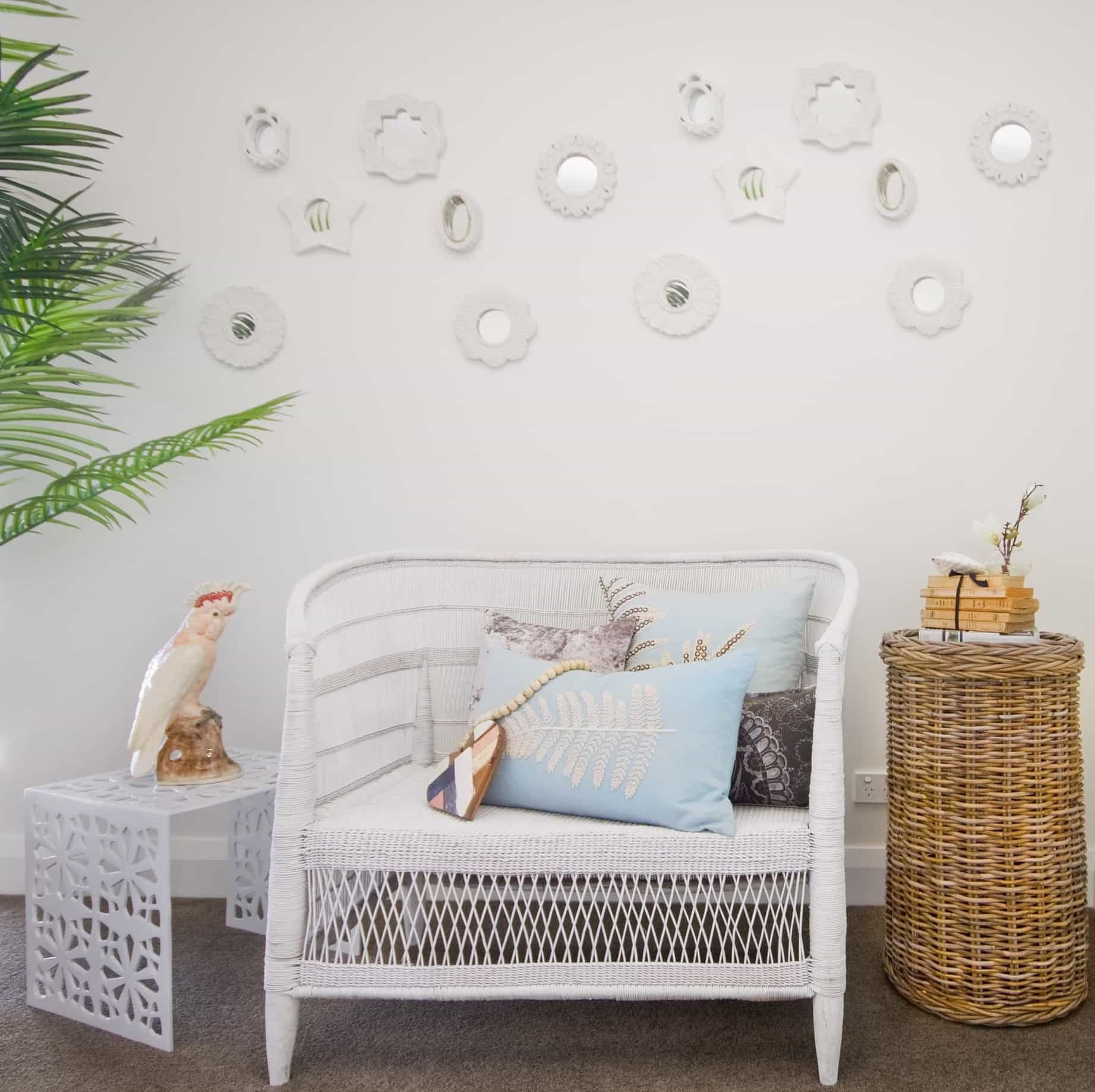 Featured Image of White Coastal Sitting Area With Wicker Chair