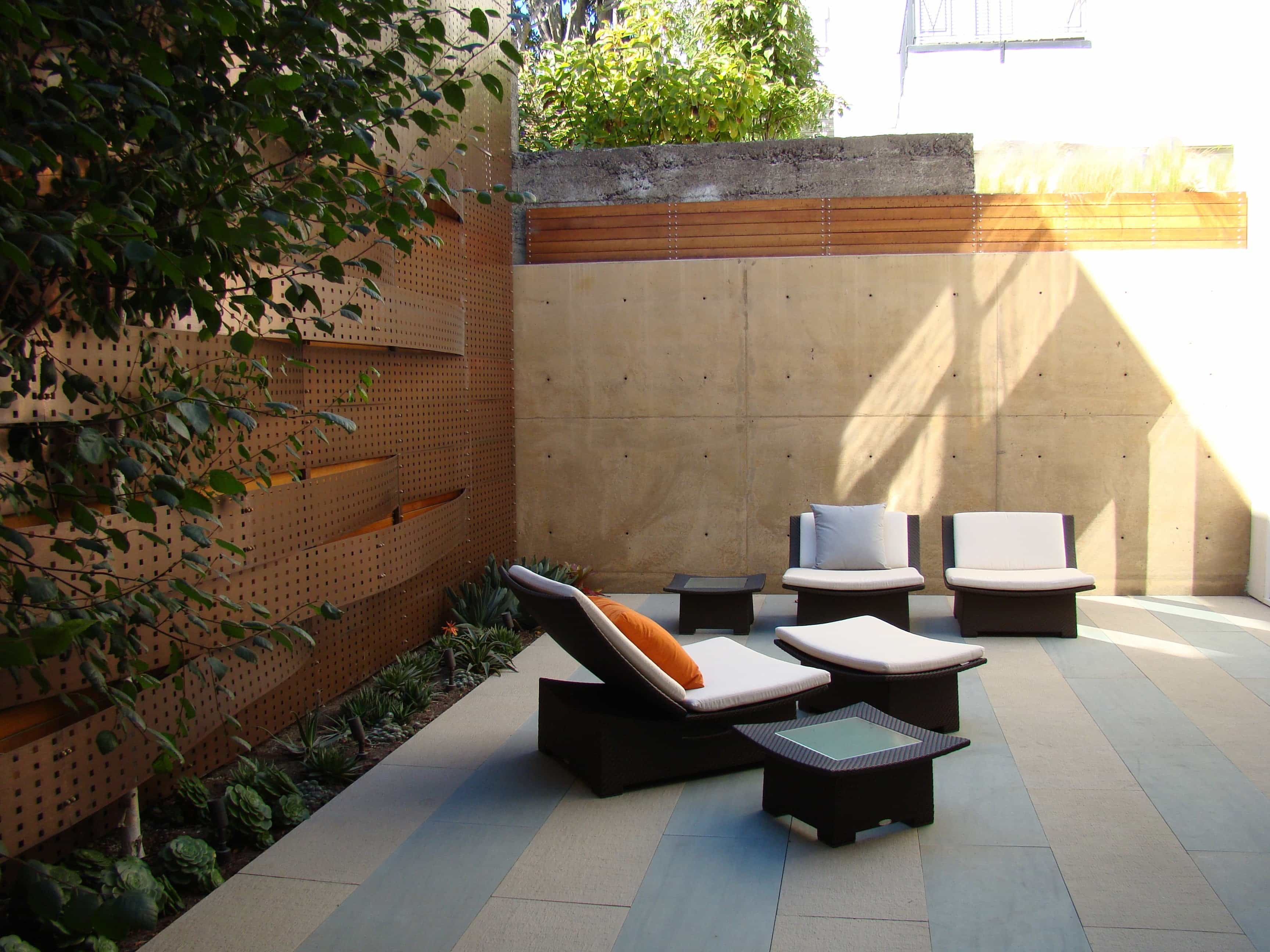 Featured Image of White Cushioning And Textured Retaining Walls Asian Patio Design