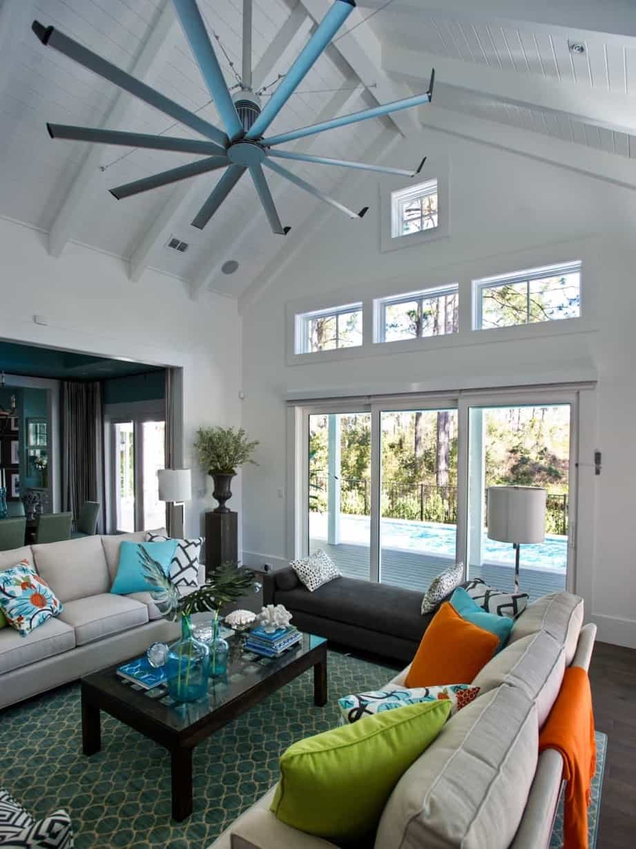 Featured Image of White Living Room With Soaring Ceilings And Coastal Decor