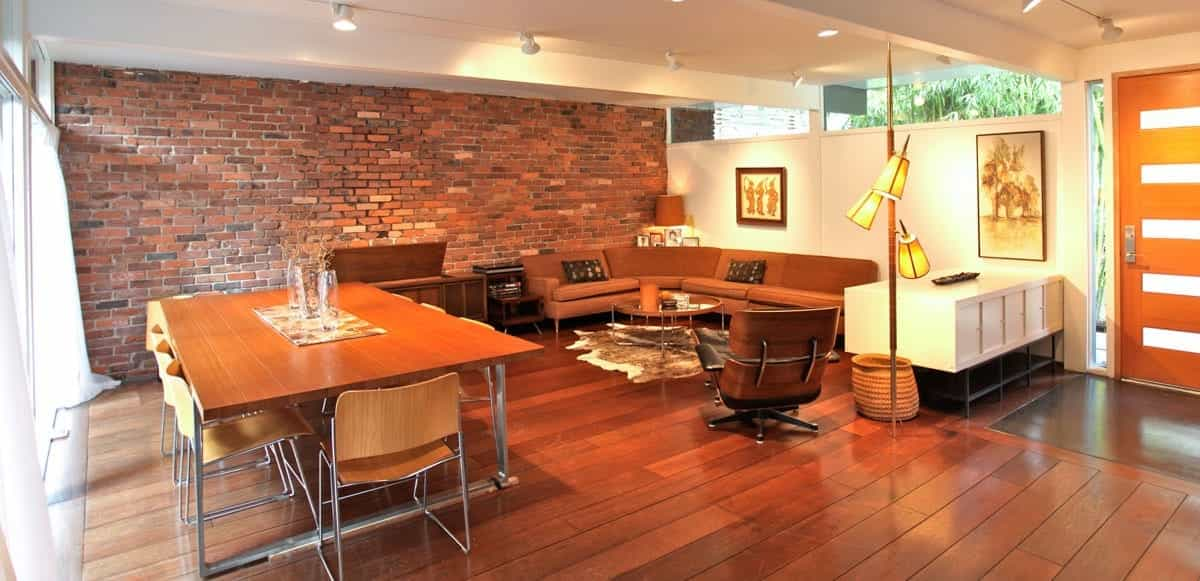 White Midcentury Modern Living Area With Exposed Brick Wall (Image 30 of 30)
