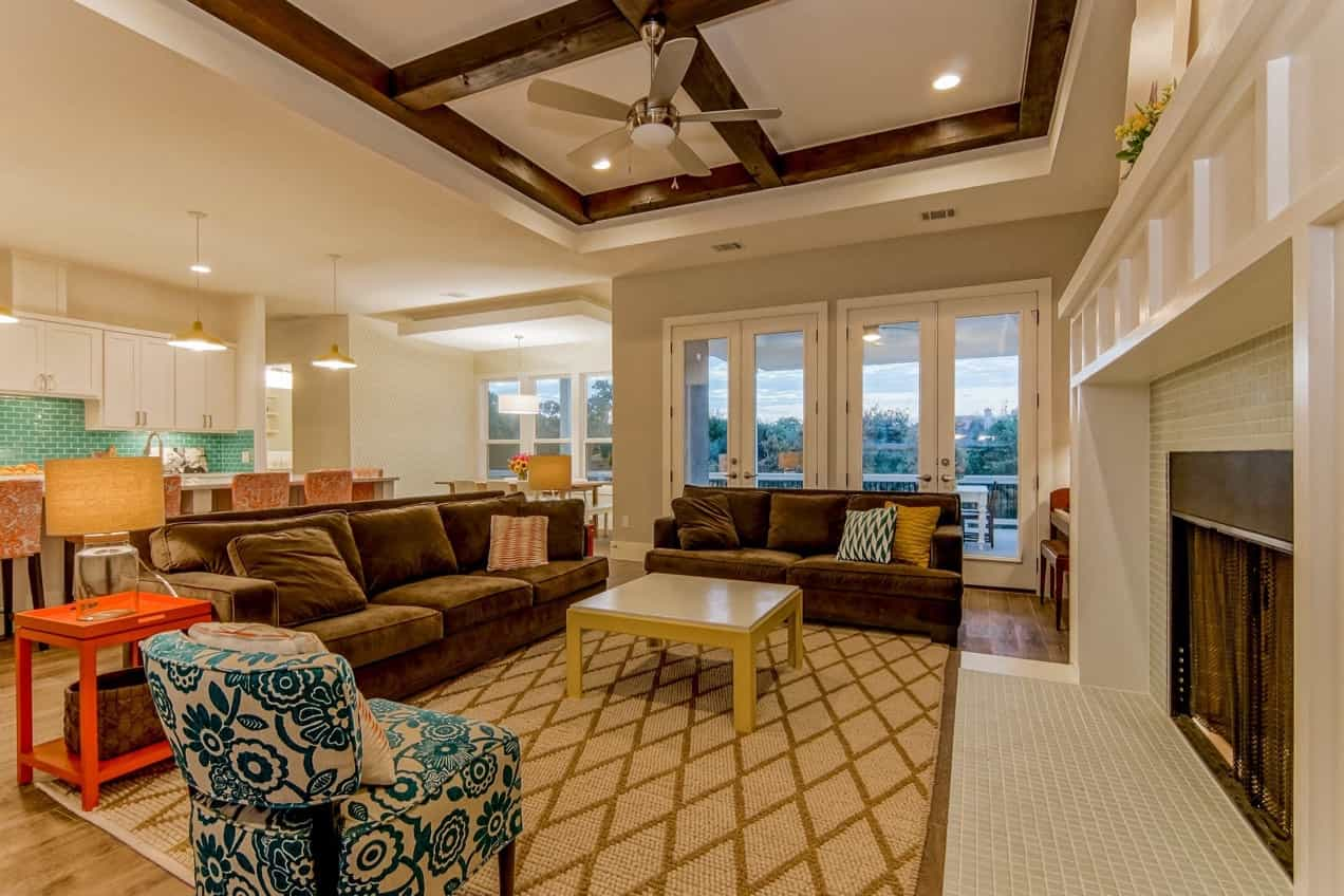Featured Image of Wonderful Colorful Open Plan Living Room With Exposed Beam Coffered Ceiling