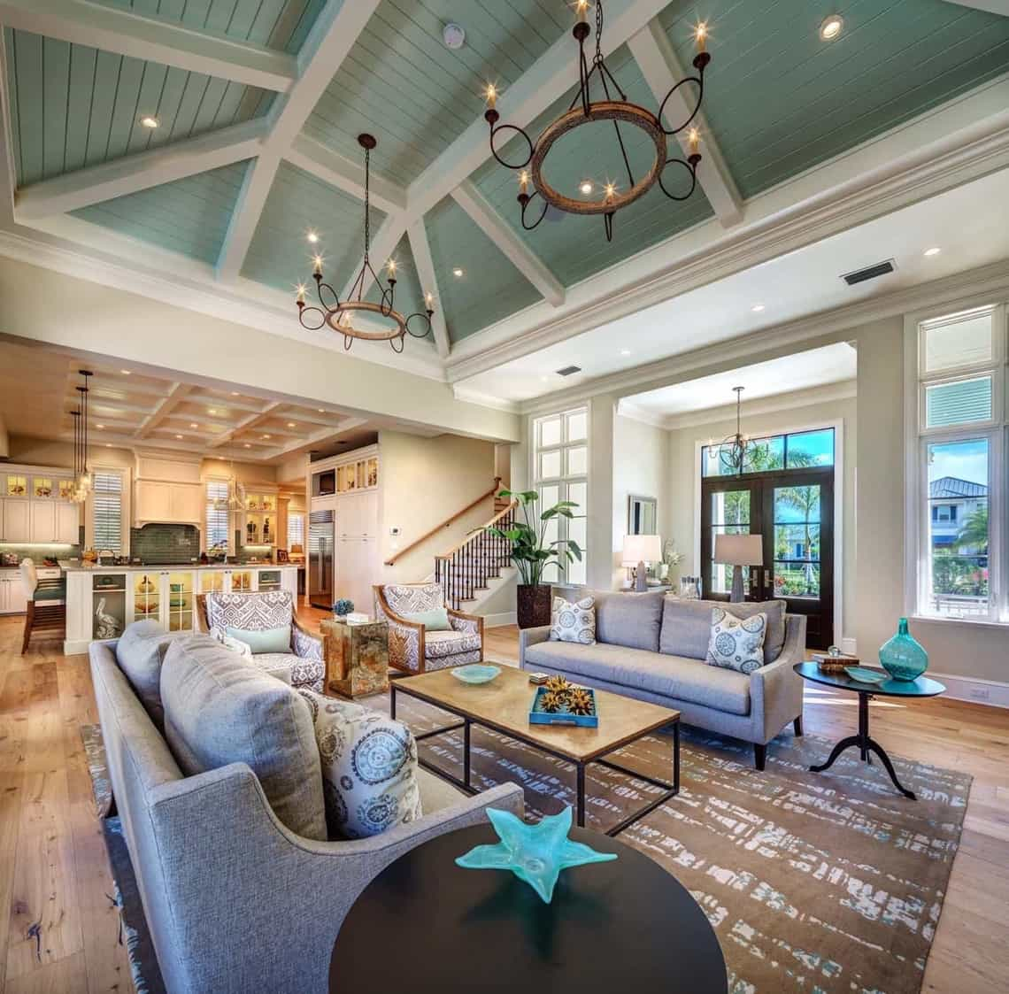 Featured Image of Wonderful Open Concept Coastal Living Room With Sage Green Vaulted Ceiling