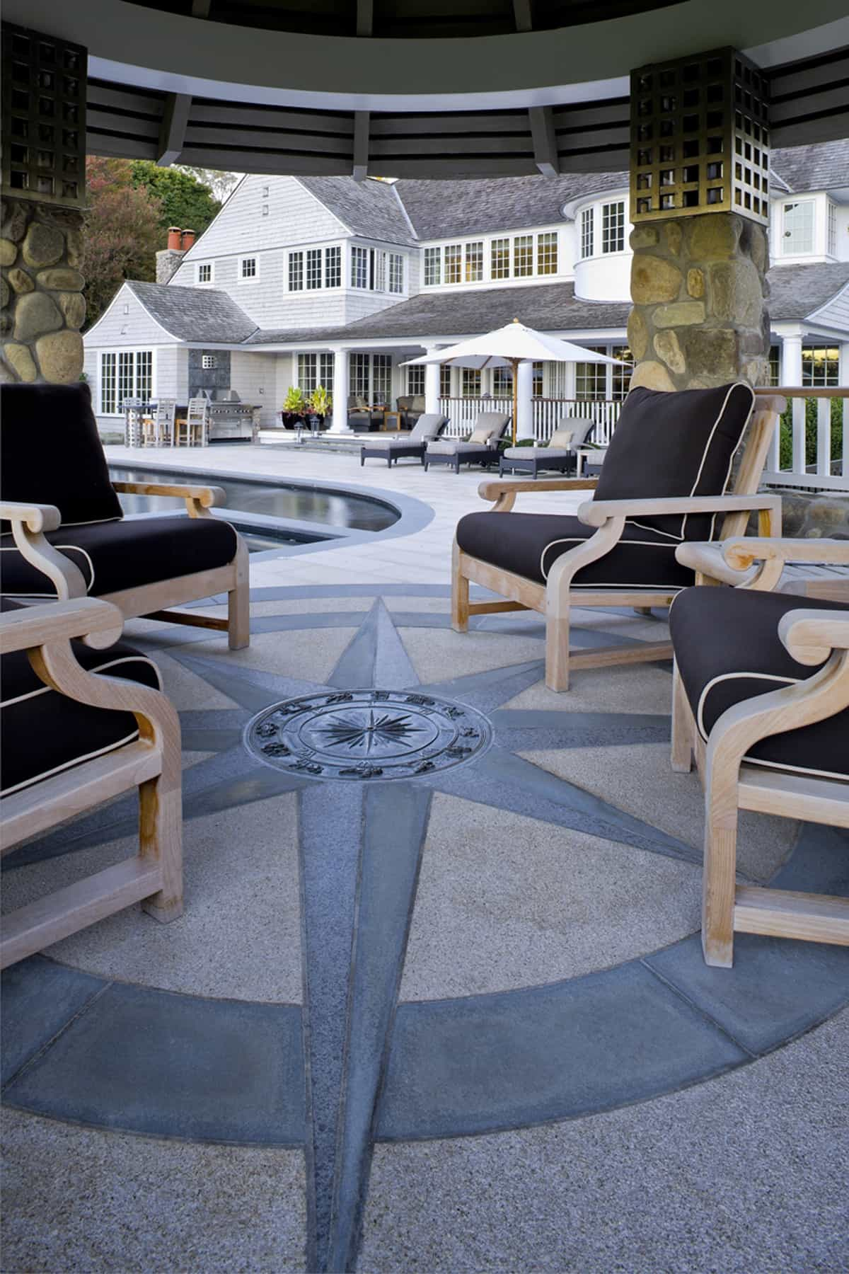 Featured Image of Wooden Chairs With Navy Cushions In Coastal Style Patio