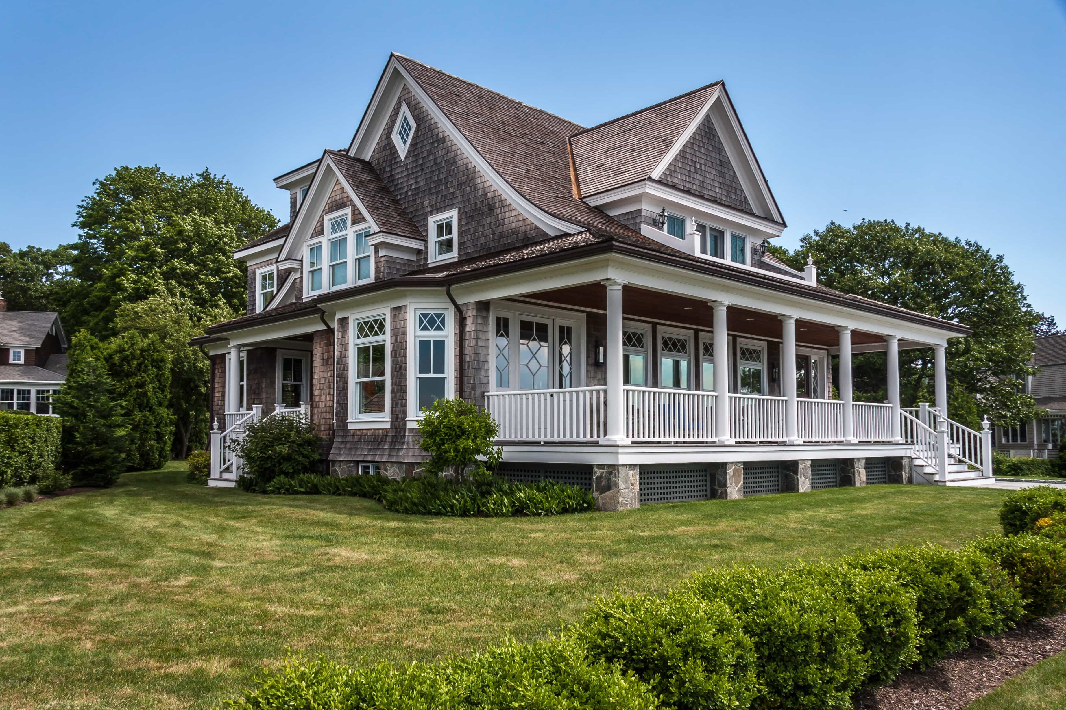 Featured Image of Wooden Shingles And Diamond Paned Windows Exterior