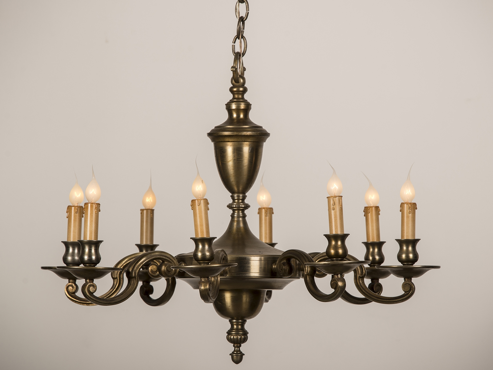 A Beautiful Eight Arm Heavy Brass Chandelier Having A Central Stem With Regard To Old Brass Chandelier (Image 1 of 15)