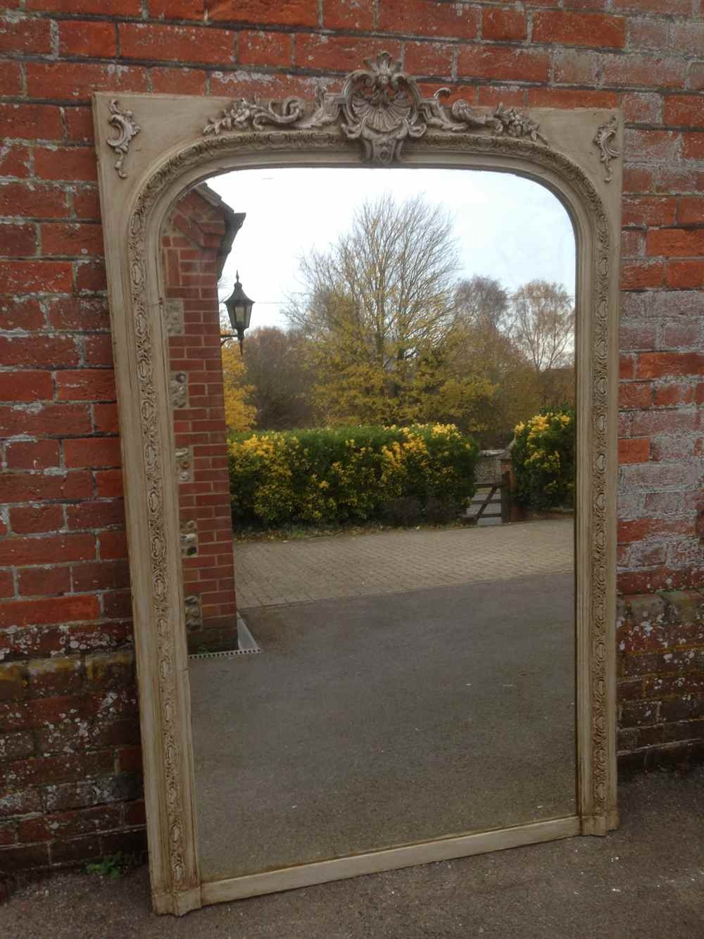A Beautiful Large Antique 19th Century French Carved Wood Gesso With Large Antique Mirrors (View 3 of 15)