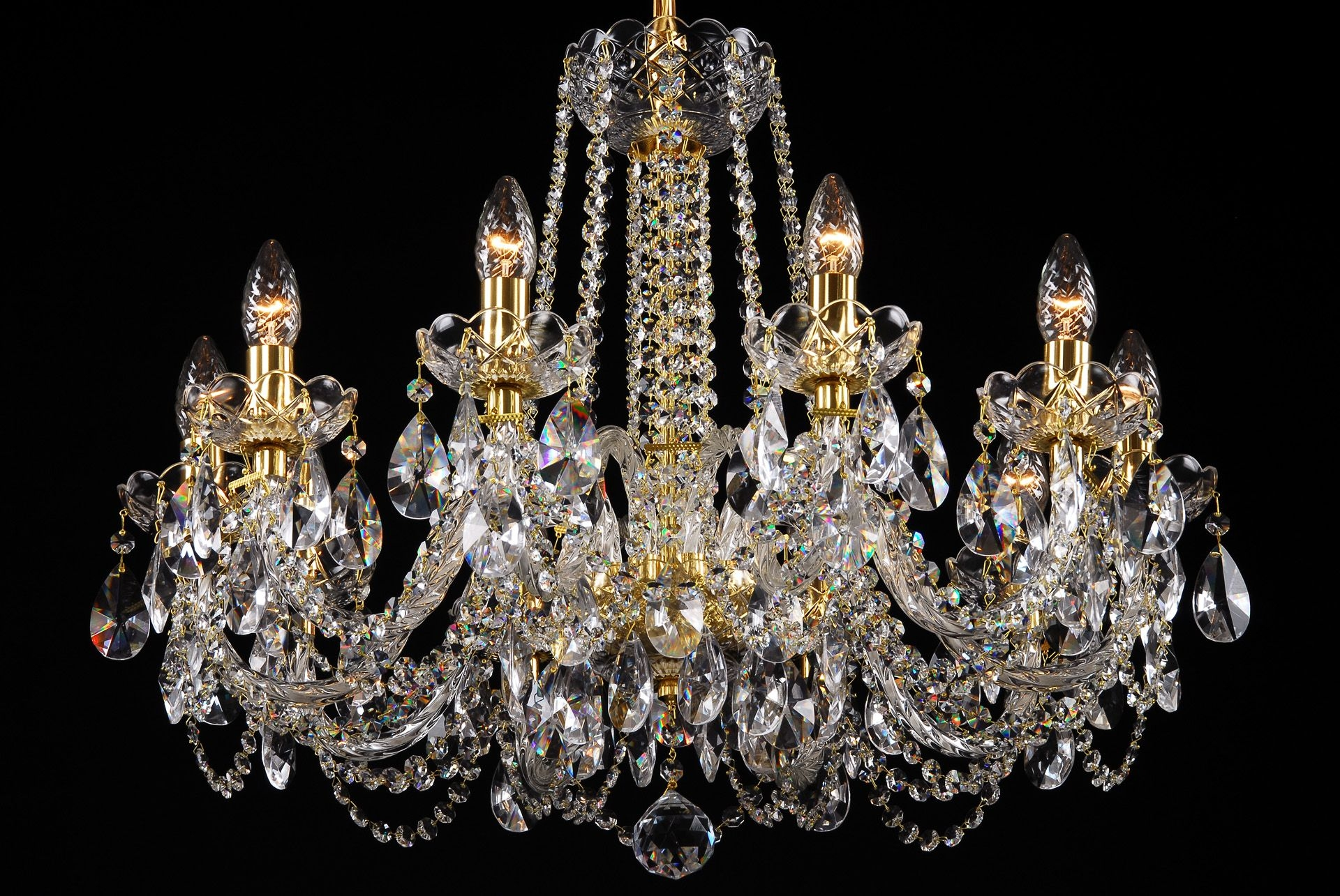 A Crystal Chandelier With Gold Coloured Metal Suitable For Throughout Coloured Chandeliers (Image 4 of 15)