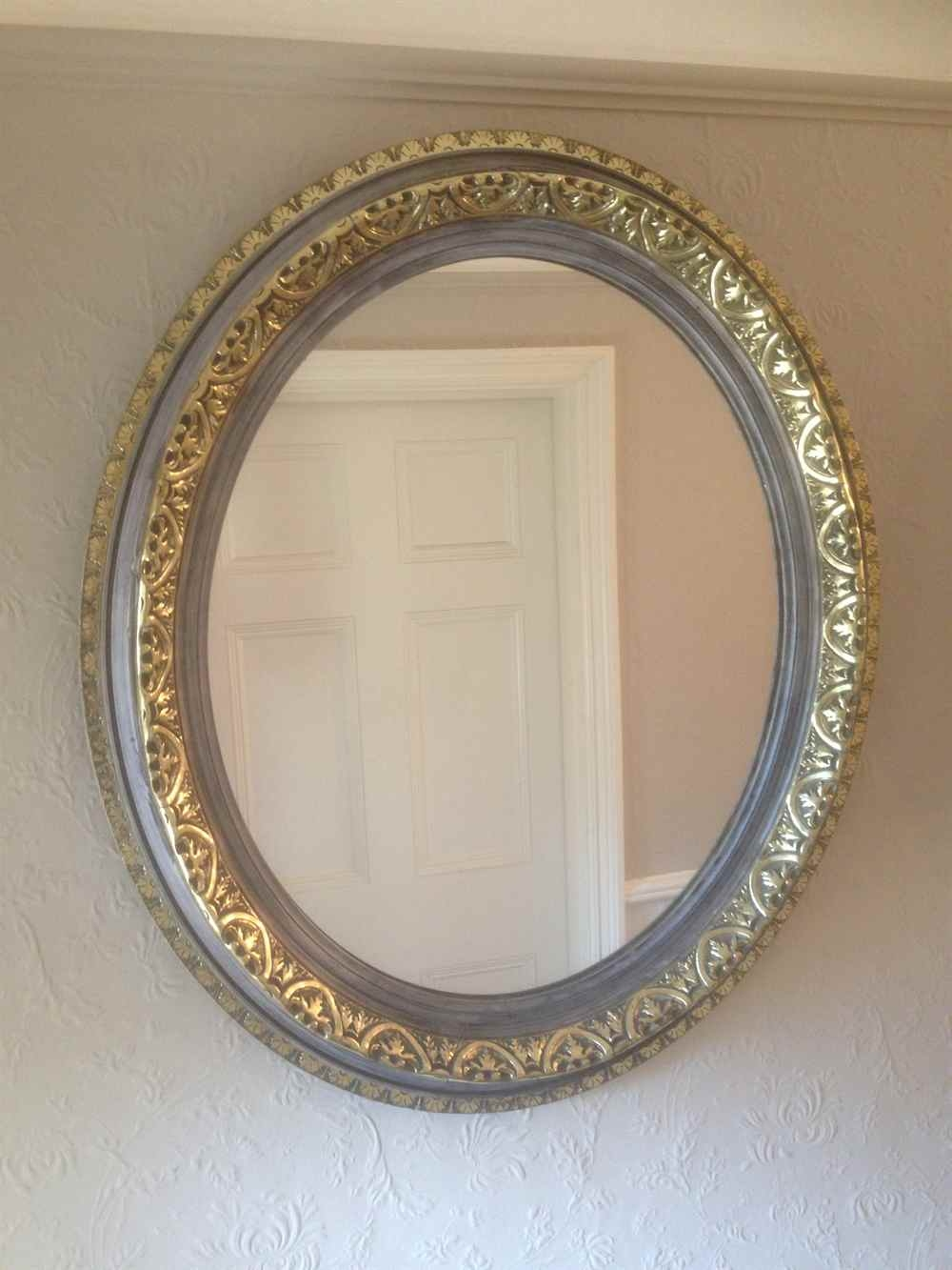 A Fabulous Pair Of Antique 19th Century French Carved Wood Gilt Throughout Oval French Mirror (Image 4 of 15)