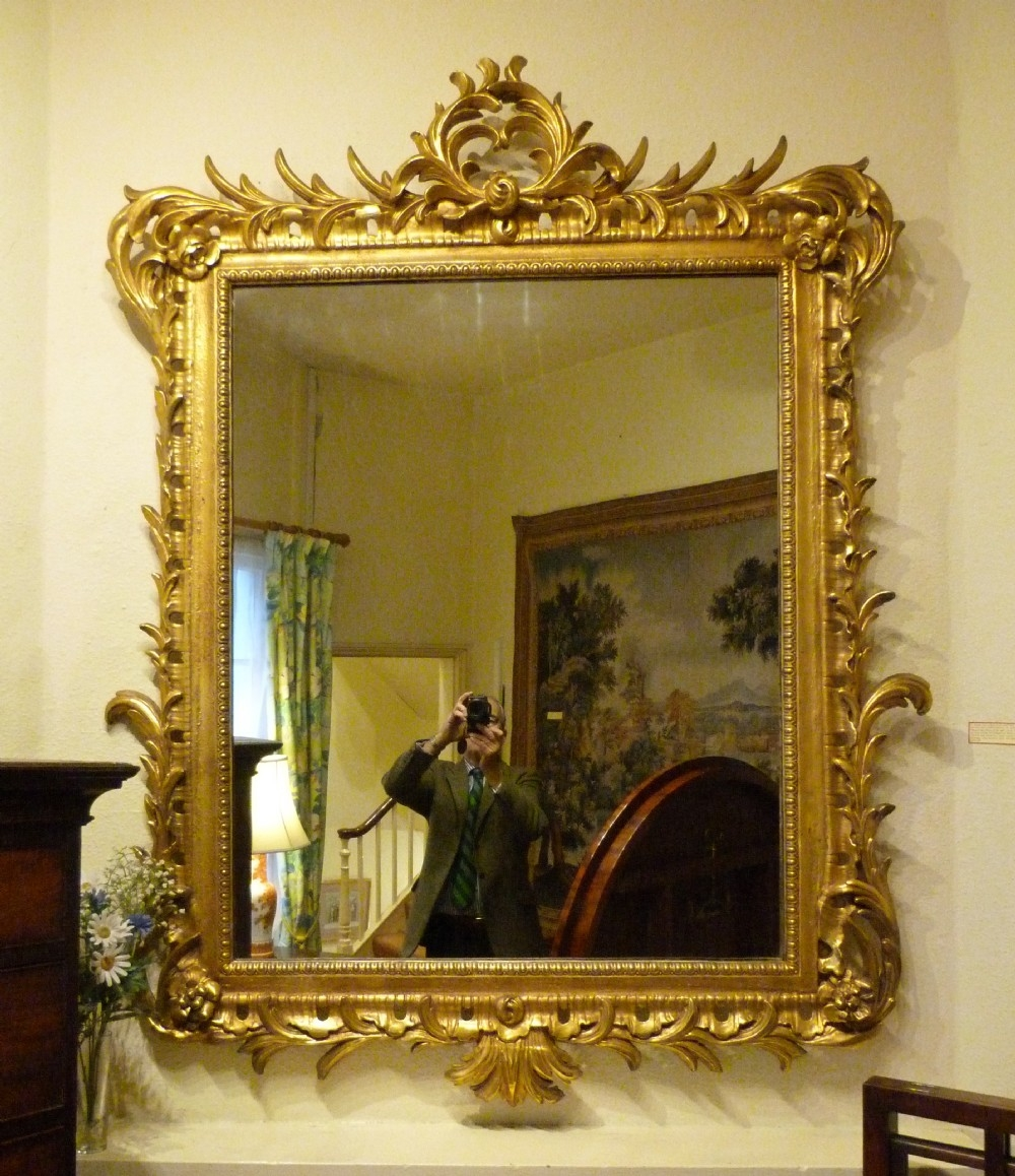 A Fine Large Carved And Gilded Overmantel Mirror 255396 With Large Gilt Framed Mirror (Image 1 of 15)