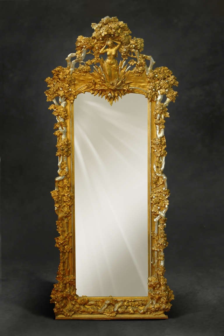 A French Napoleon Iii Gilt And Silvered Carved Wood And Gesso Full Pertaining To Antique Floor Length Mirror (View 5 of 15)