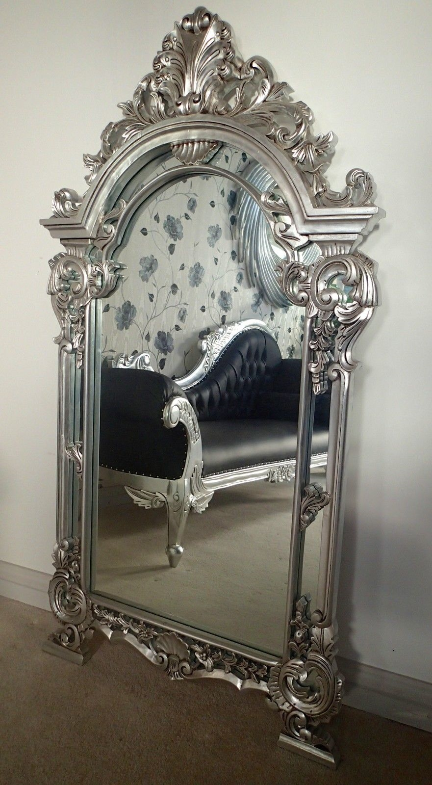 A French Style Pediment Mirror Large Mirror In Various Finishes Ie Within Silver French Mirror (Image 1 of 15)