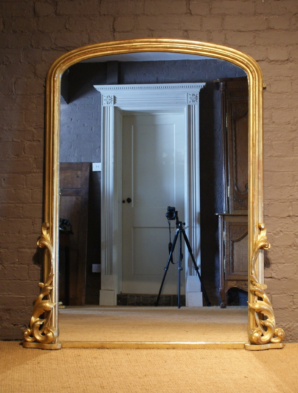 A Grand Mid 19th Century Antique Arch Top Gilt Wood Overmantle Throughout Wooden Overmantle Mirror (View 15 of 15)
