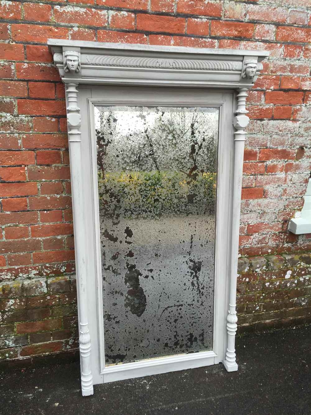 A Highly Decorative Large Antique 19th Century French Painted Regarding French Floor Standing Mirror (Image 3 of 15)