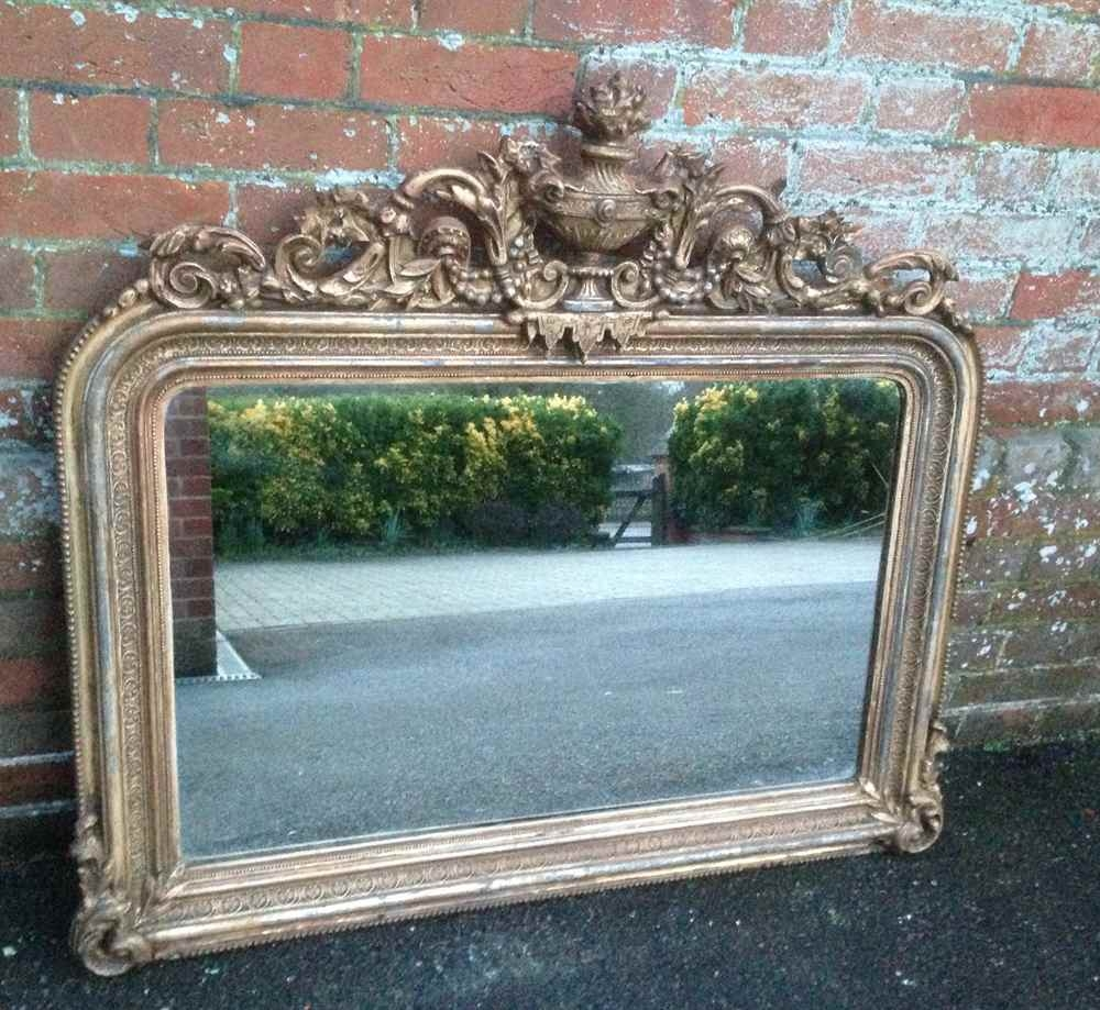 A Highly Unusual And Very Useful Size Early Antique 19th Century Regarding Antique Gilt Mirrors (Image 1 of 15)