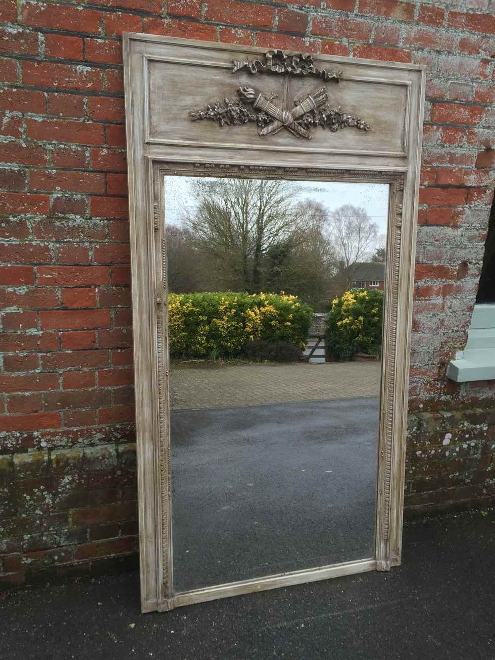 A Large Antique 19th Century French Carved Wood Gesso Painted Intended For Large French Mirror (Image 2 of 15)