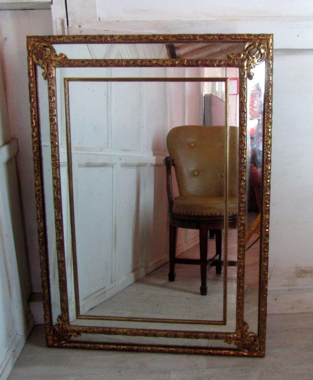 A Large French Gilded Brass Cushion Mirror 270477 Within Large French Mirrors (Image 4 of 15)