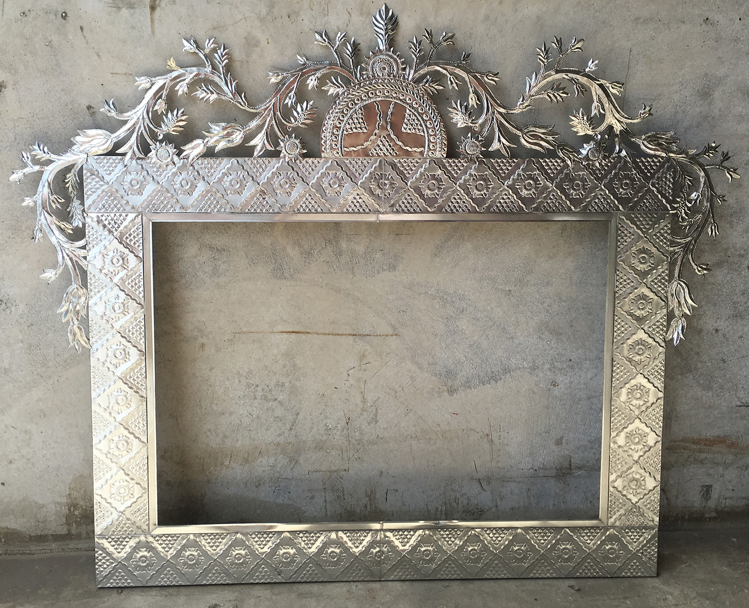 A Large Mexican Pressed Tin Mirror Frame Only 160 W X 130cm H Within Pressed Tin Mirror (Image 3 of 15)