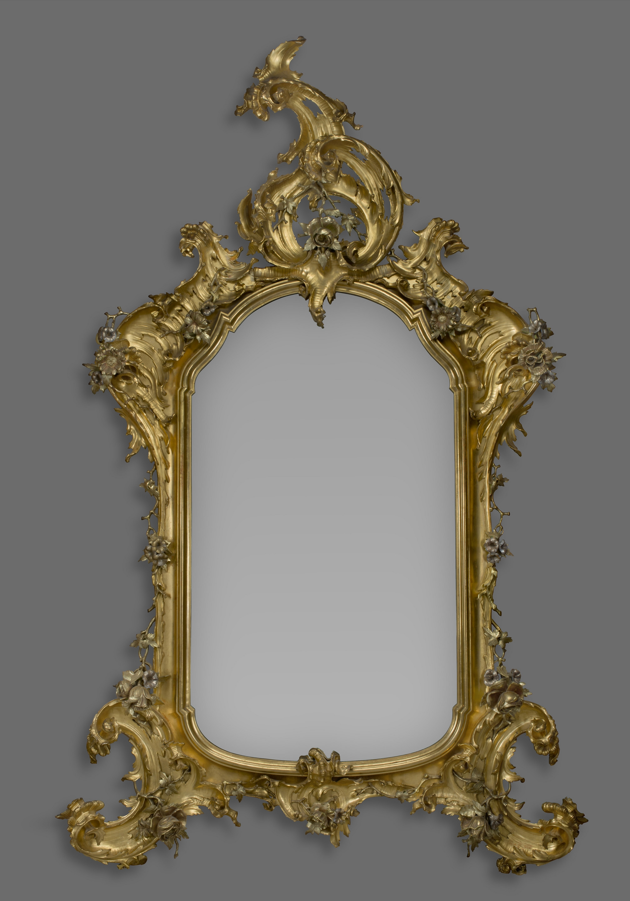 A Large Rococo Style Carved Giltwood And Silver Gilt Mirror C With Regard To Large Silver Gilt Mirror (Image 3 of 15)