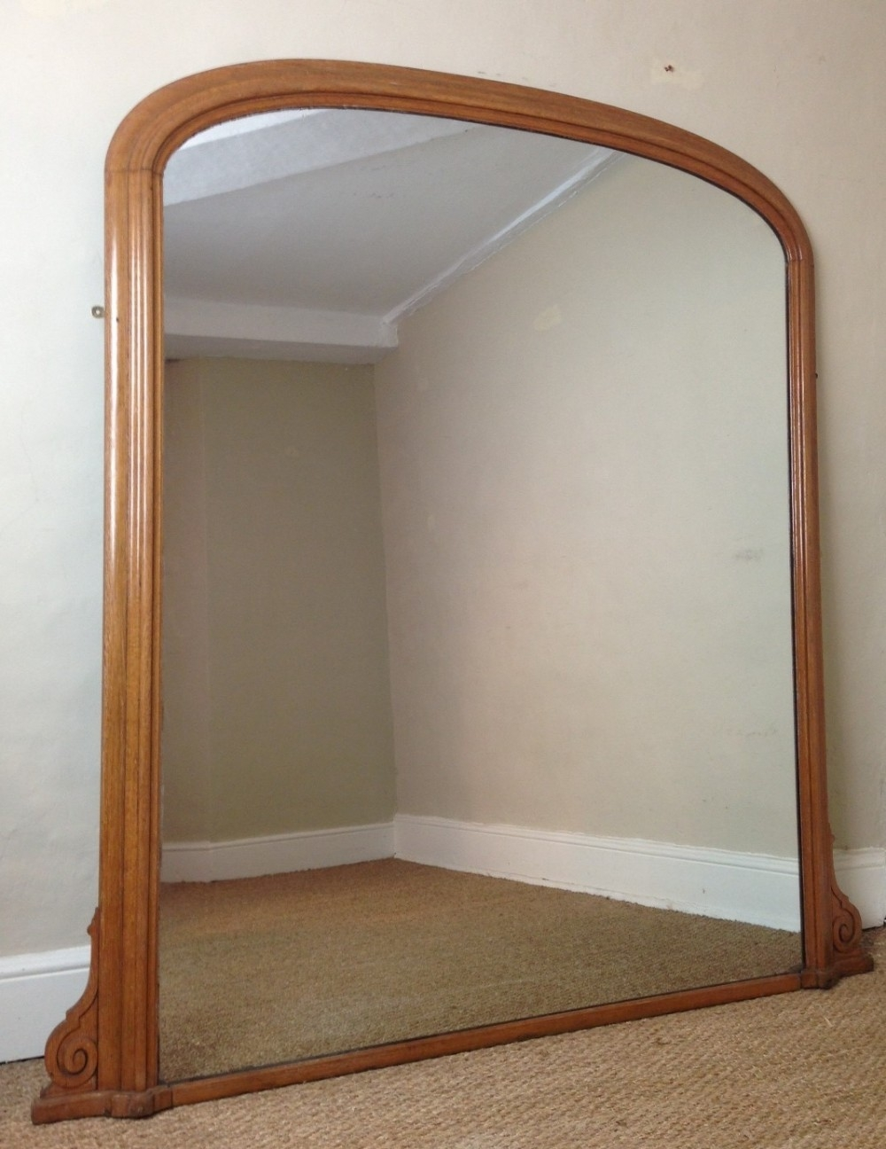 A Large Victorian Oak Over Mantel Mirror C 1870 267502 In Large Oak Mirror (View 7 of 15)
