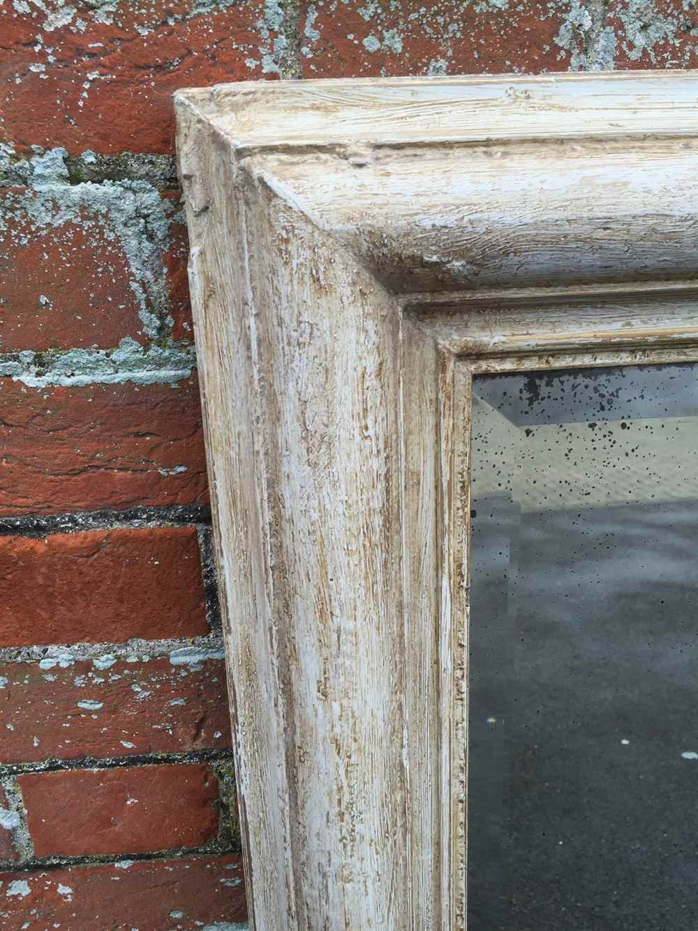 A Plain Antique 19th Century French Carved Wood Gesso Distressed Inside Distressed Cream Mirror (Image 2 of 15)