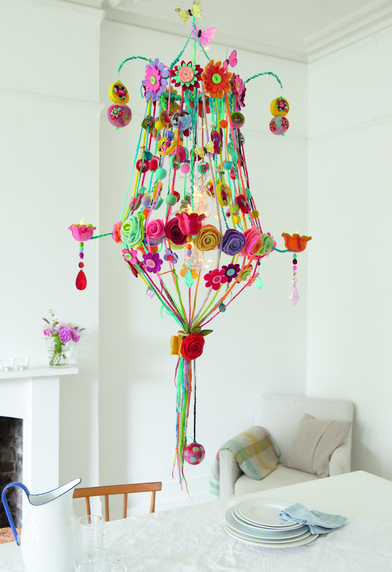 A Sculptress Of Felt From Penguins Purses To Ostentatious Regarding Colourful Chandeliers (Image 3 of 15)