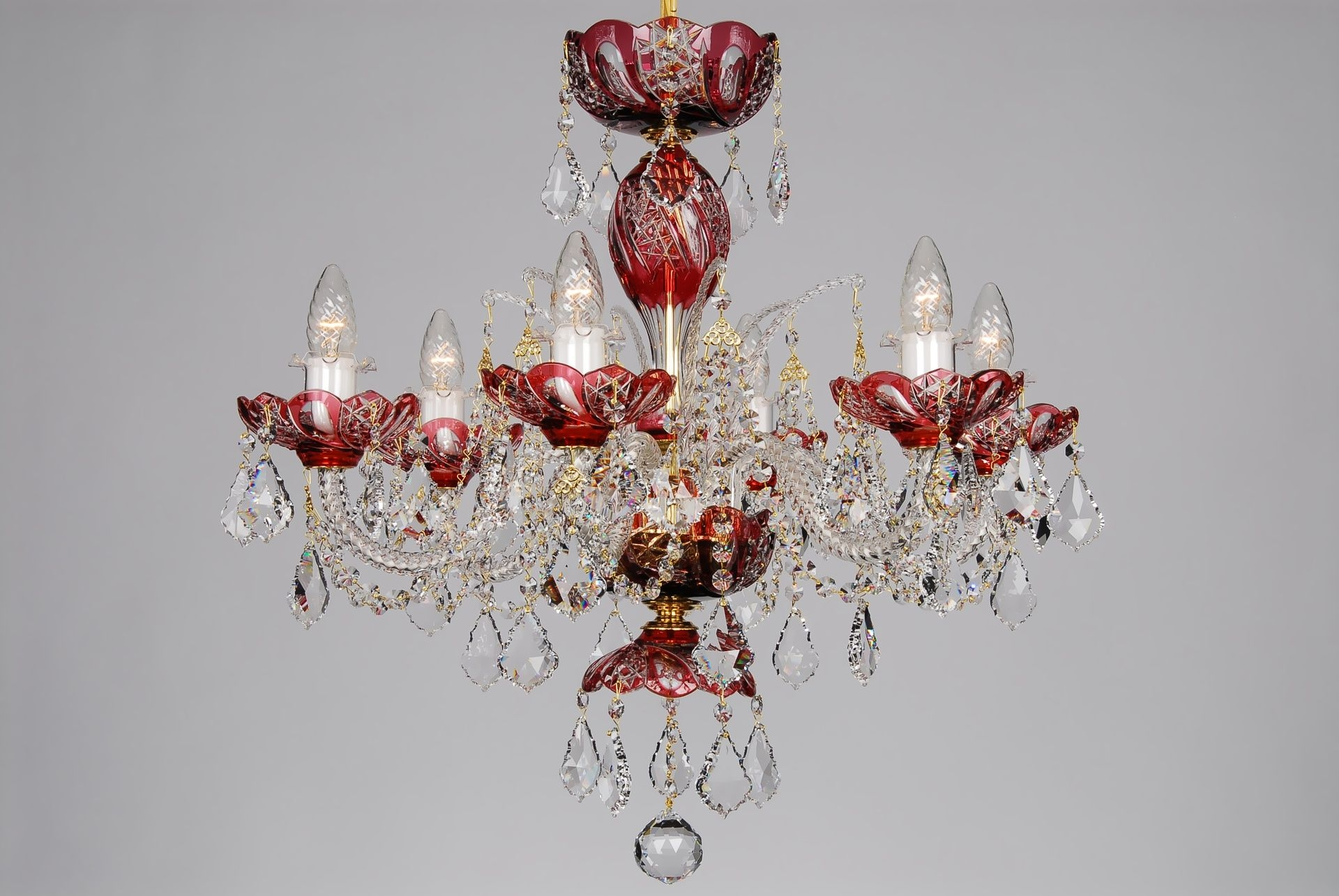 A Small Red Crystal Chandelier Decorated With Swarovski Trimmings Regarding Small Red Chandelier (Image 4 of 15)
