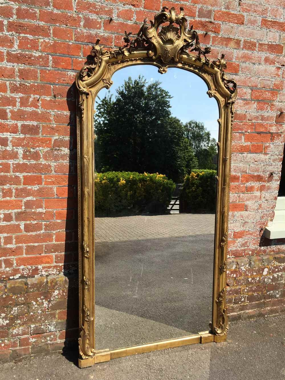 A Spectacular Shaped Top Large Antique 19th Century French Carved With Regard To Antique Large Mirror (Image 3 of 15)