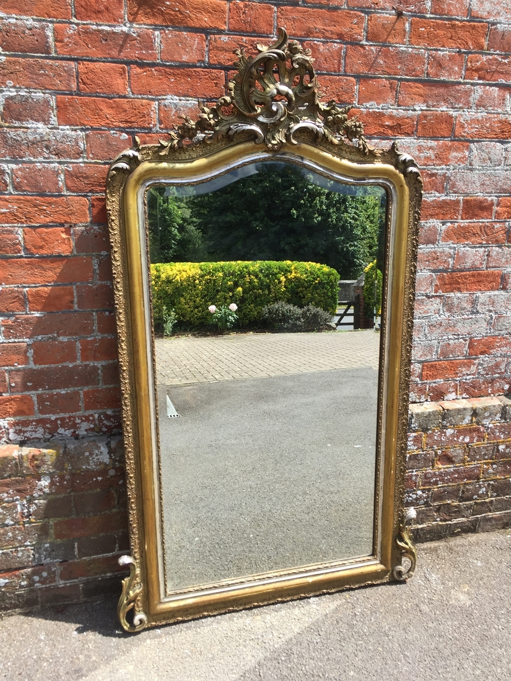 A Superb Large Antique 19th Century French Carved Wood Gesso Pertaining To Large Silver Gilt Mirror (Image 4 of 15)