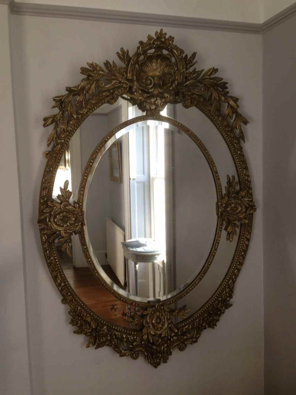A Wonderful Large Antique 19th Century French Carved Wood Oval Regarding Ornate Antique Mirrors (Image 1 of 14)
