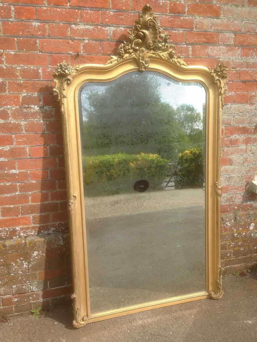 A Wonderful Large Antique 19th Century French Original Carved Wood Regarding French Floor Standing Mirror (Image 4 of 15)