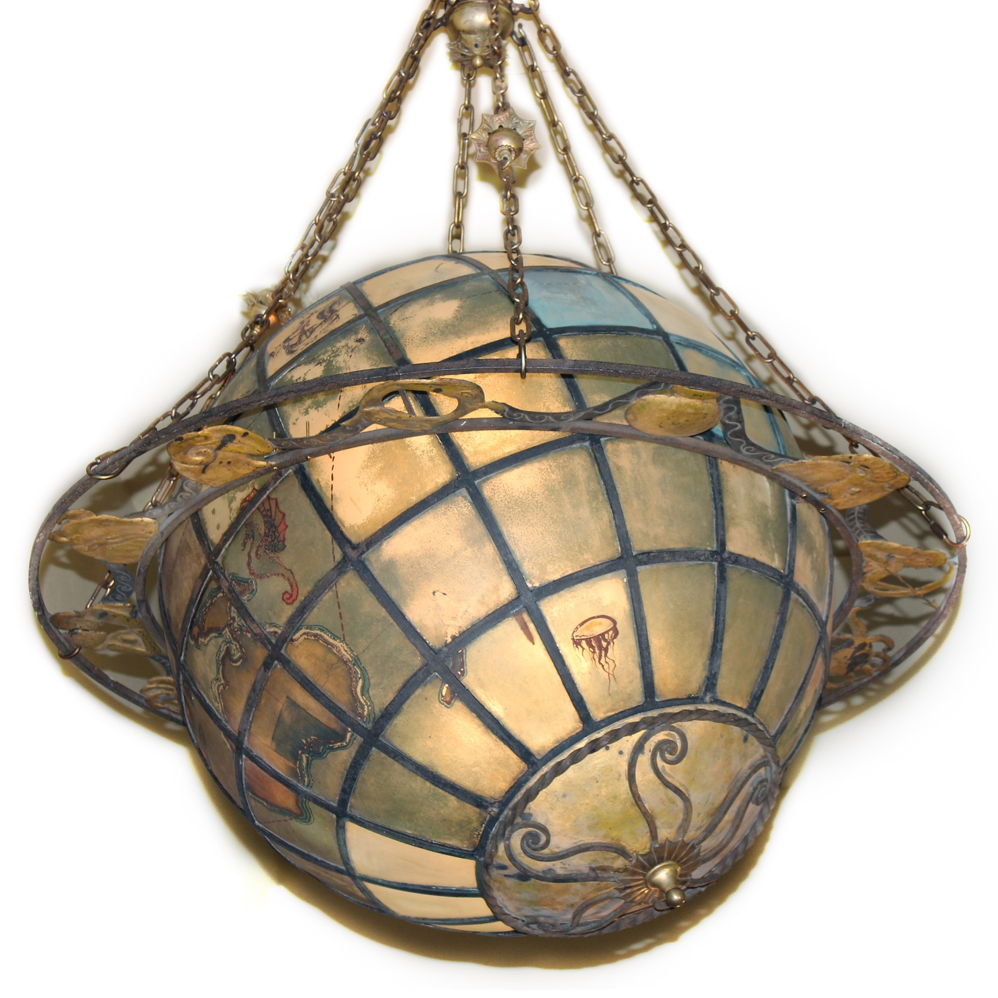 A4444 Antique World Globe Chandelier With Zodiac Ring Bogart With Chandelier Globe (Image 1 of 15)