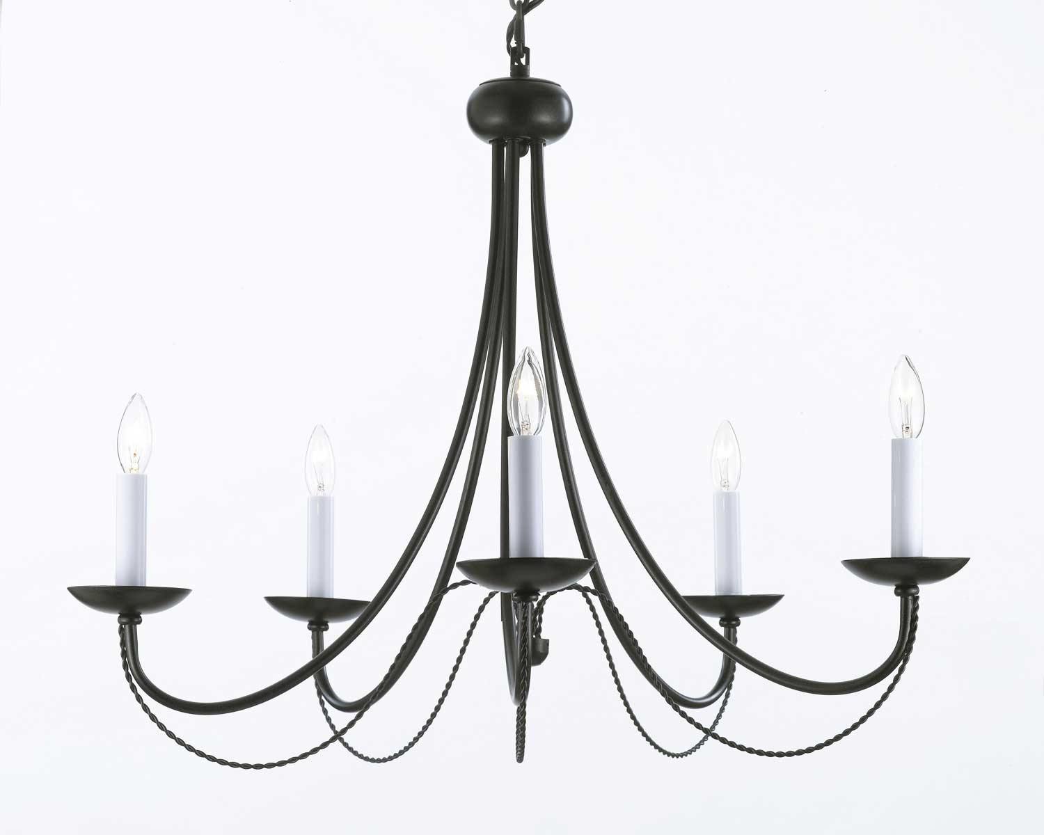 A7 4035 Gallery Wrought Without Crystal Wrought Iron Chandelier Intended For Modern Wrought Iron Chandeliers (Image 1 of 15)