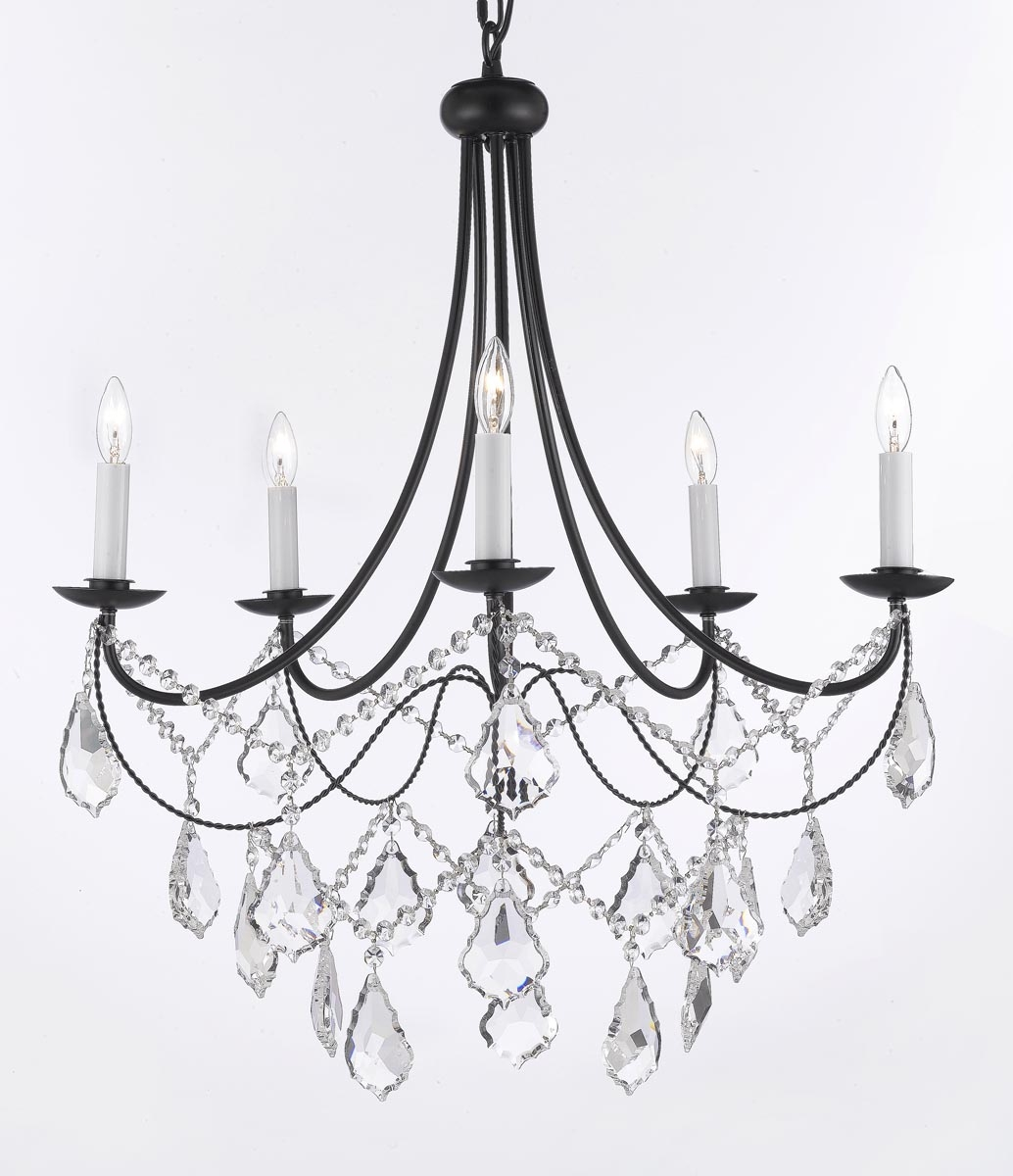 A7 B124035sw Gallery Wrought With Crystal Wrought Iron Throughout Wrought Iron Chandelier (Image 2 of 15)