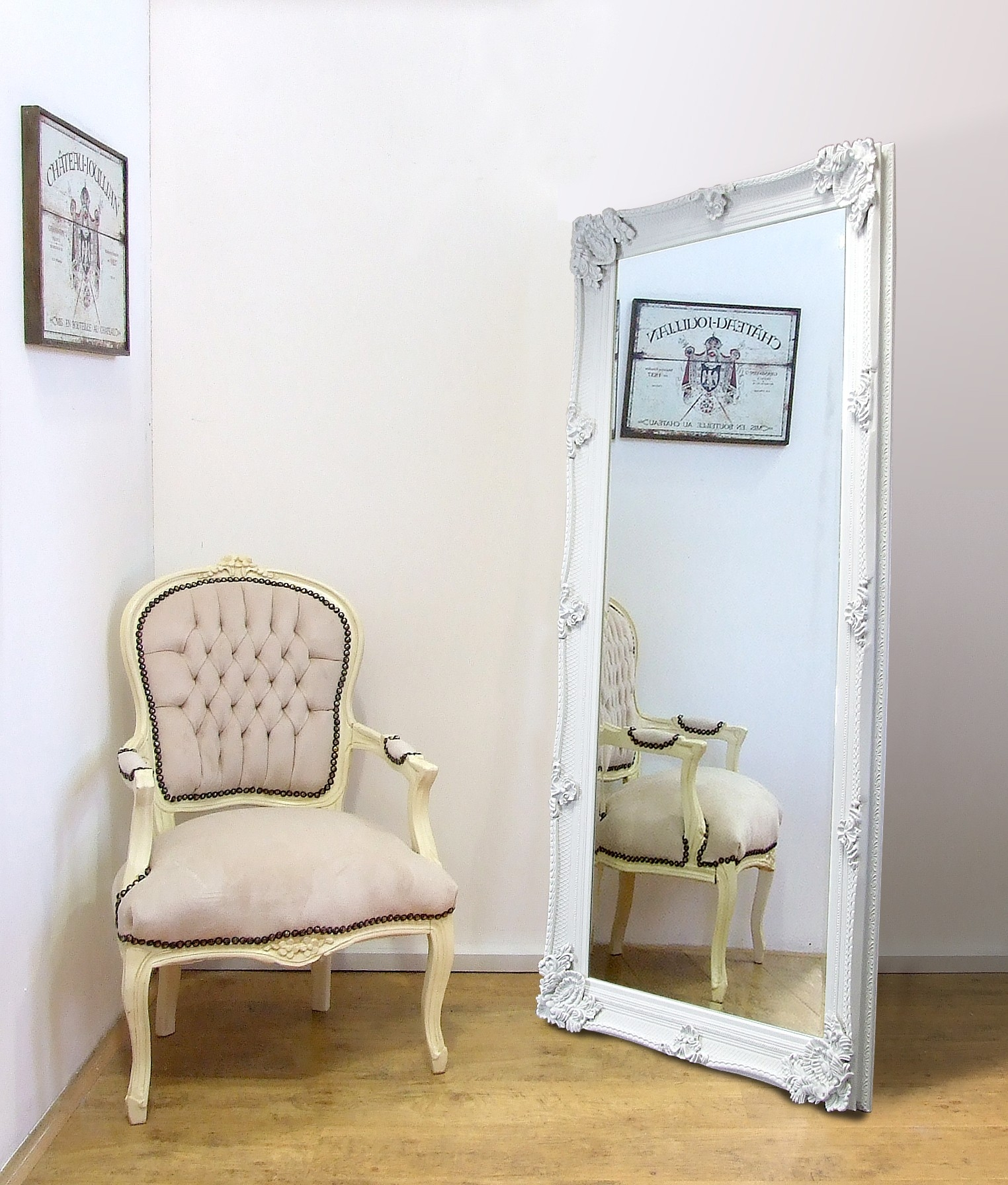Abbey Large Full Length Shab Chic Vintage Leaner Mirror White 32 Pertaining To Shabby Chic Full Length Mirror (Image 1 of 15)