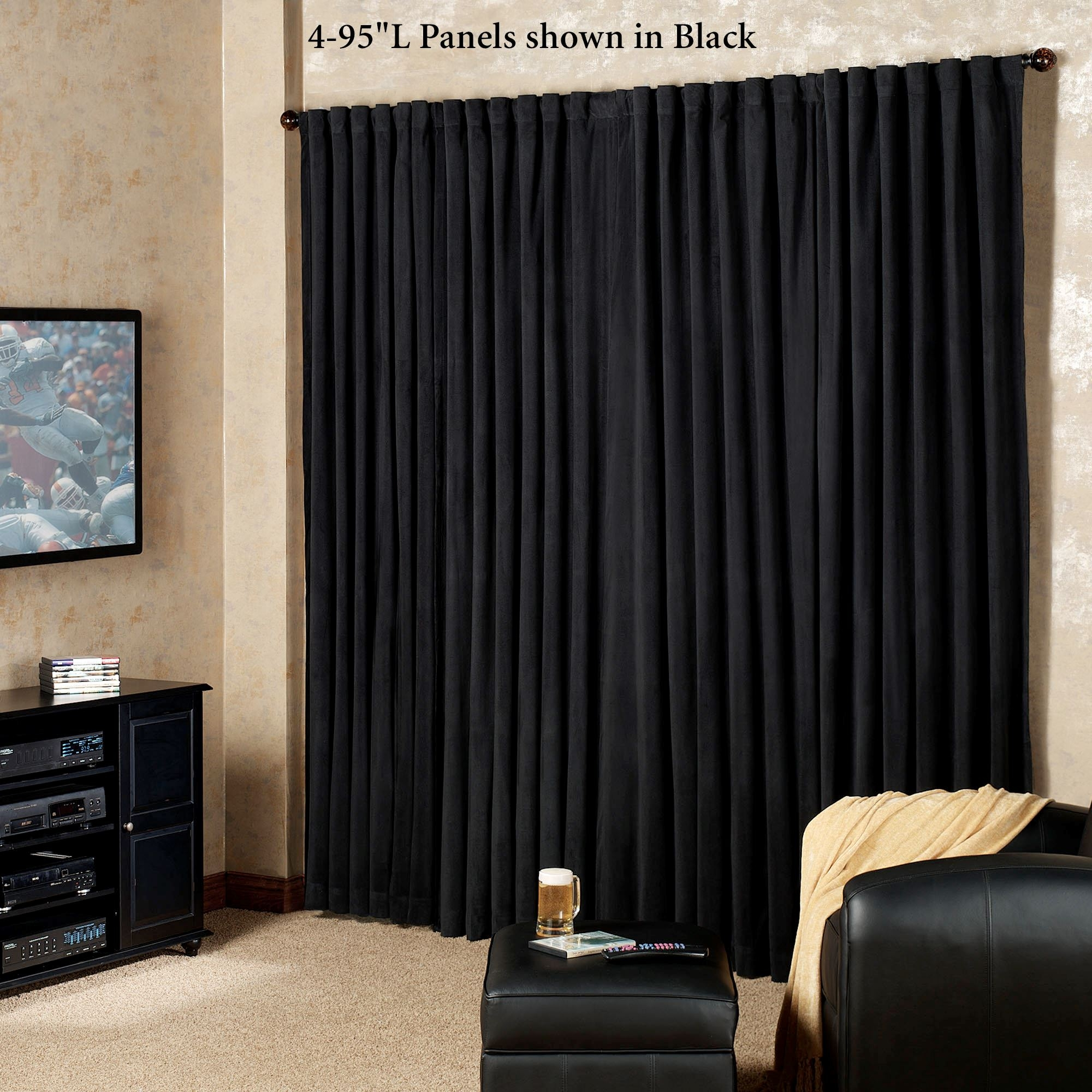 Absolute Zero Eclipse Home Theater Blackout Curtain Panels Throughout Noise And Light Blocking Curtains (Image 1 of 15)